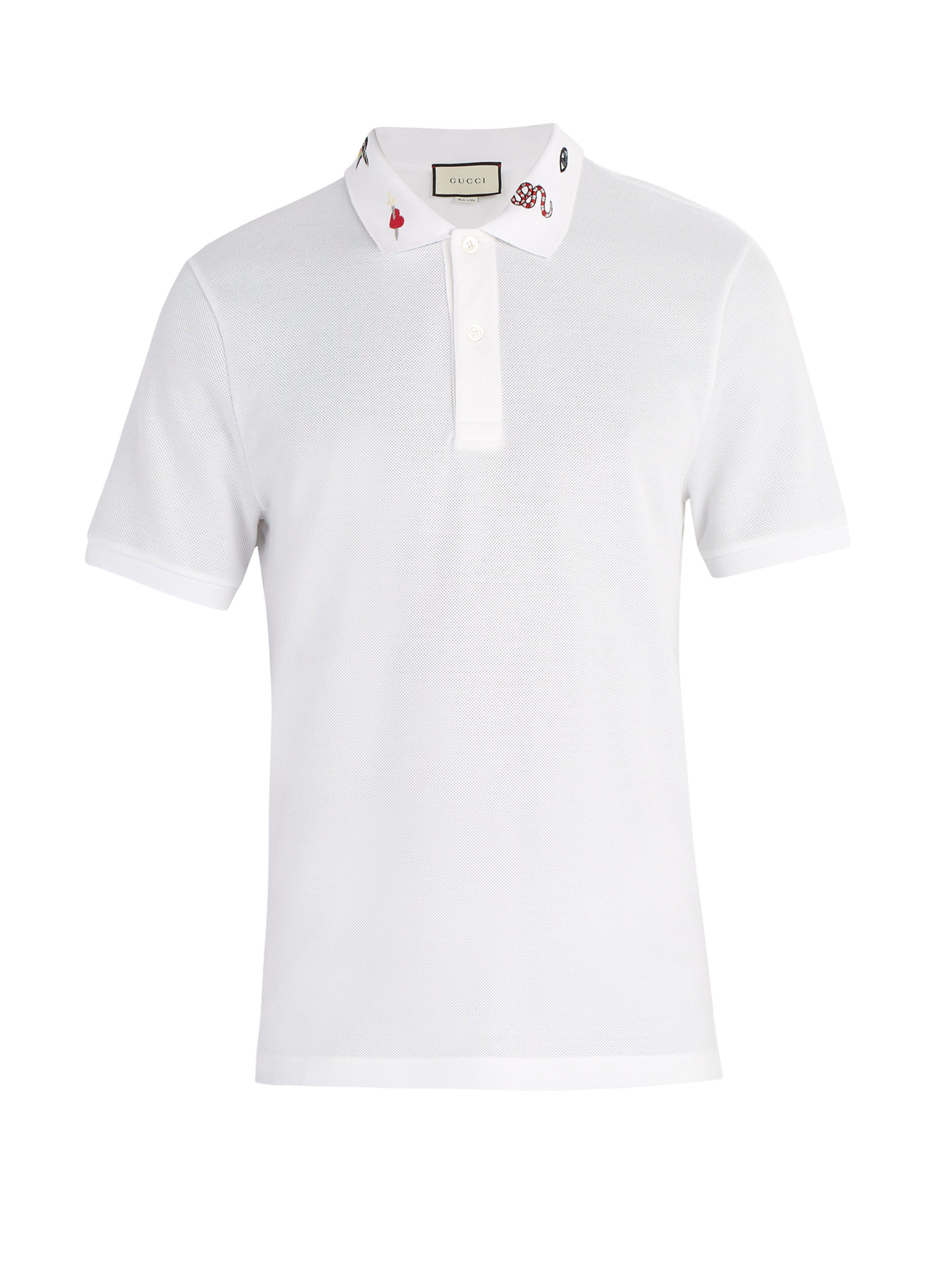 e7f4bb6769 Gucci Embroidered Collar Cotton Blend Piqué Polo Shirt in White for ...