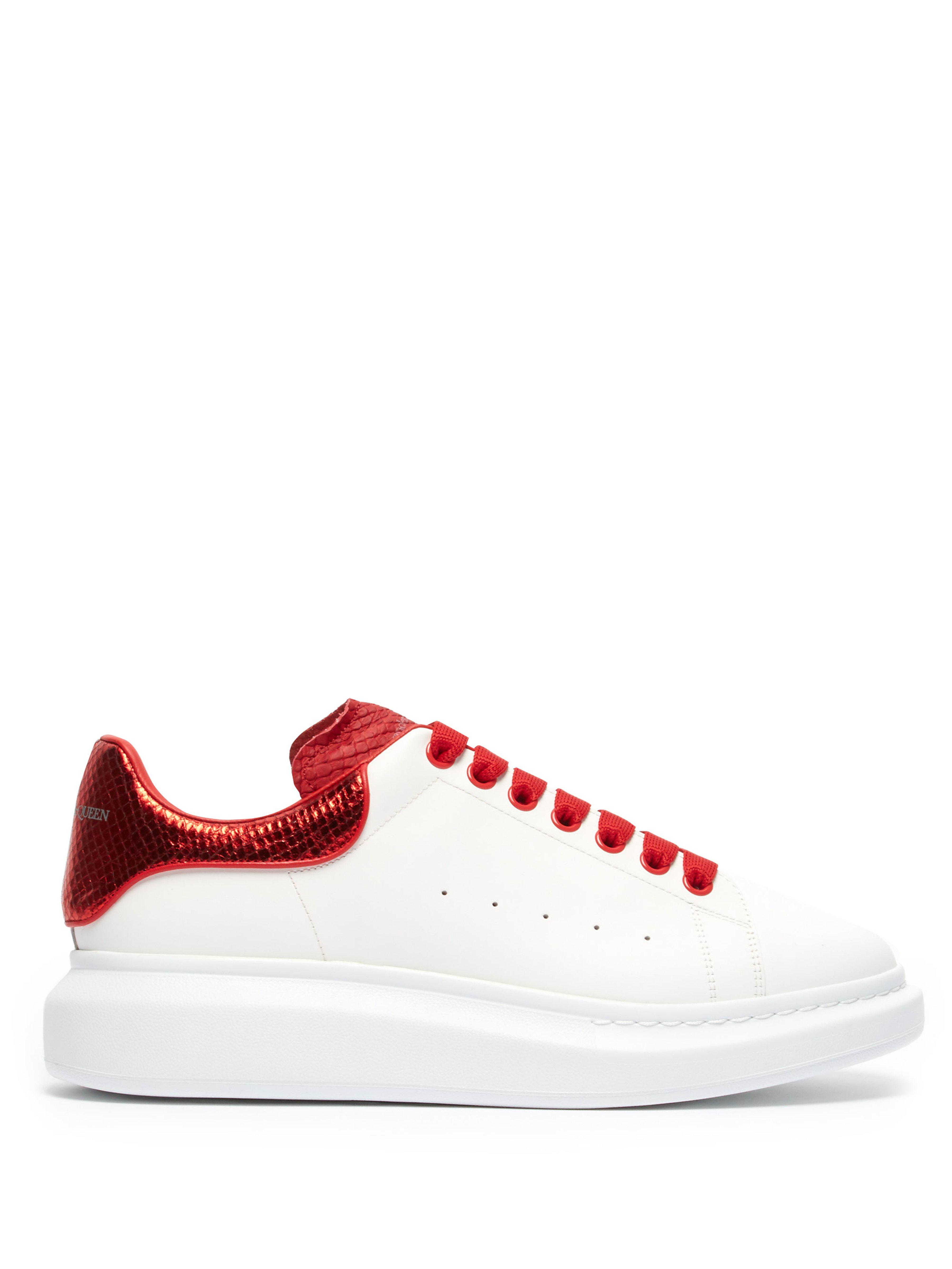 d3b9cd352f58 Alexander McQueen - Red Raised Sole Low Top Leather Trainers for Men -  Lyst. View fullscreen