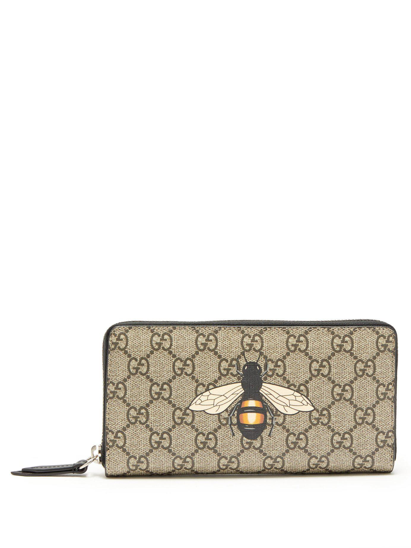 86c332ea225e Gucci Gg Supreme Bee Print Wallet in Brown for Men - Lyst