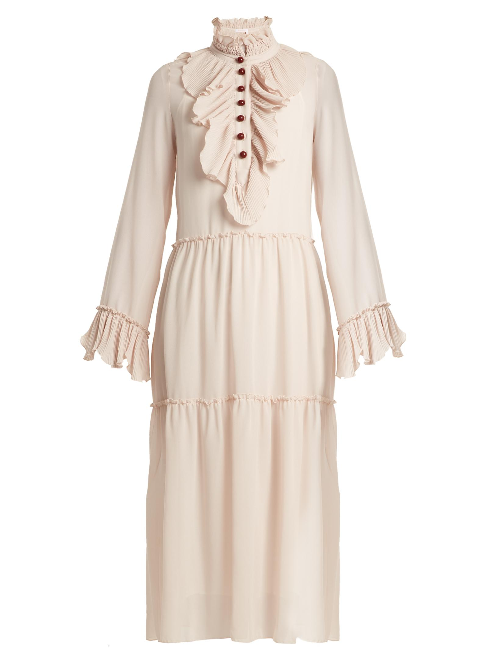9ac297a90d Lyst - See By Chloé Ruffle-trimmed Georgette Dress in Natural