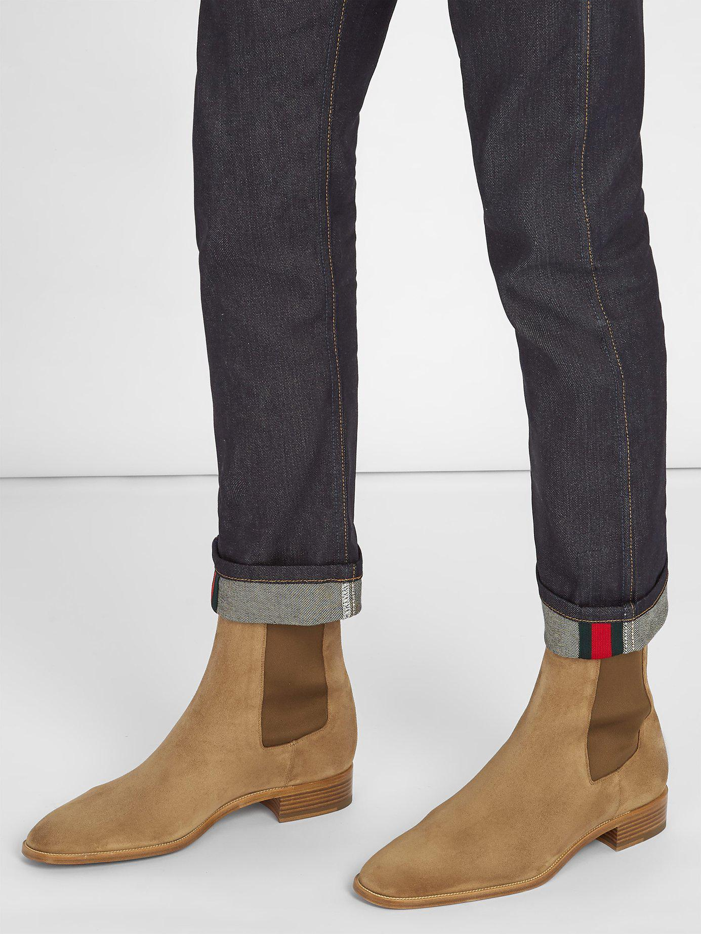 50c7c4fb8657 Lyst - Christian Louboutin Samson Suede Chelsea Boots in Natural for Men