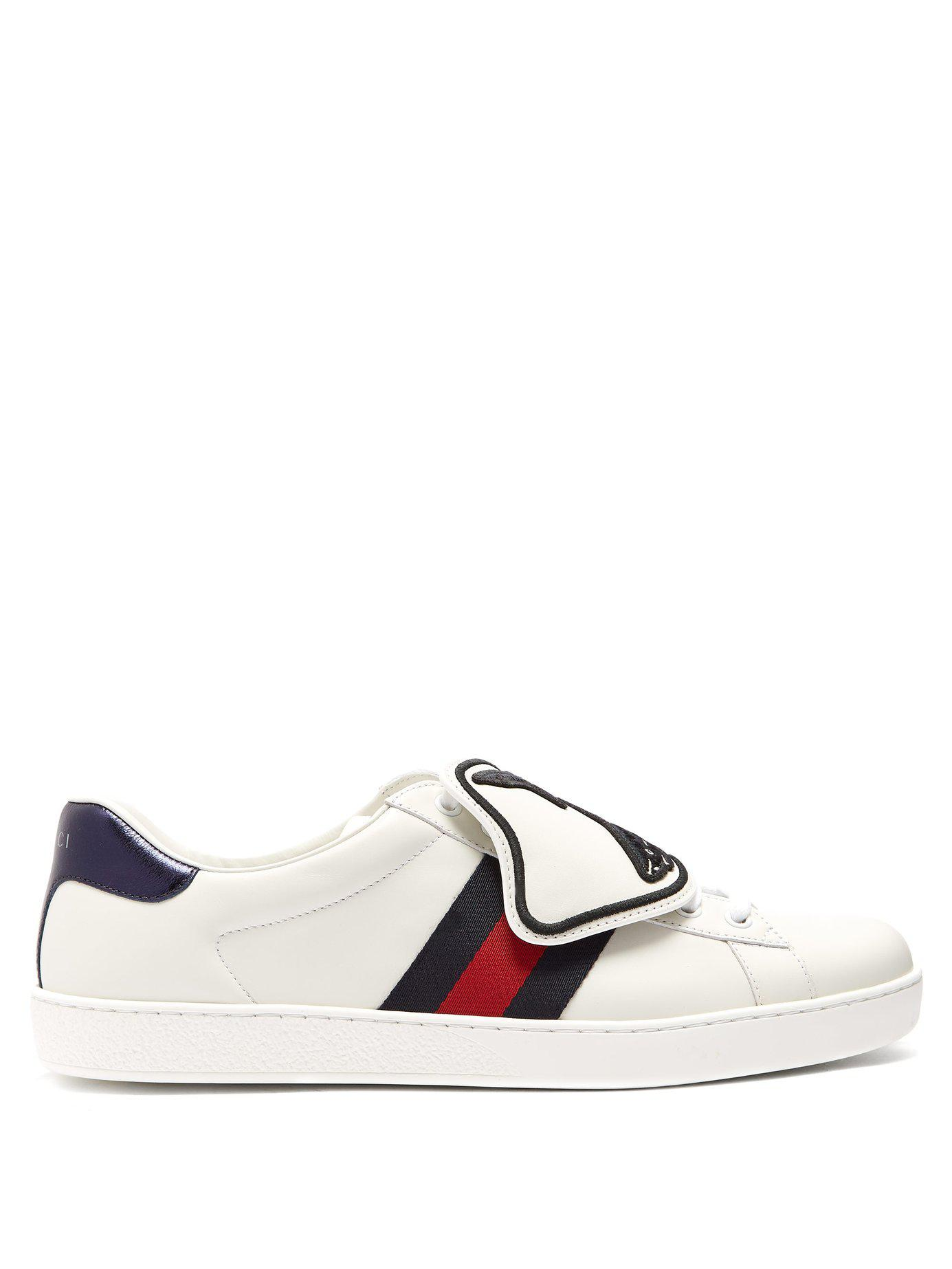 32c4a5f65bc Lyst - Gucci Ace Low Top Leather Trainers in White for Men