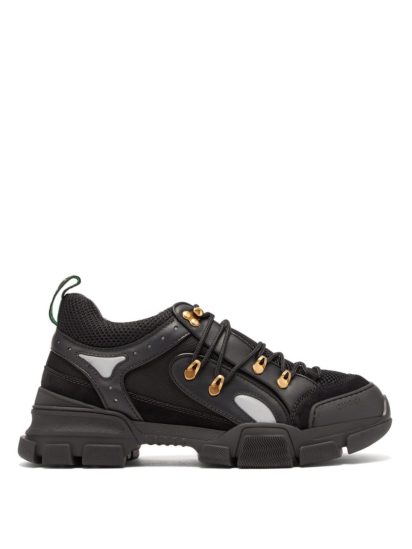 fdedcf7d82525 Lyst - Gucci Flashtrek Leather Trainers in Black for Men