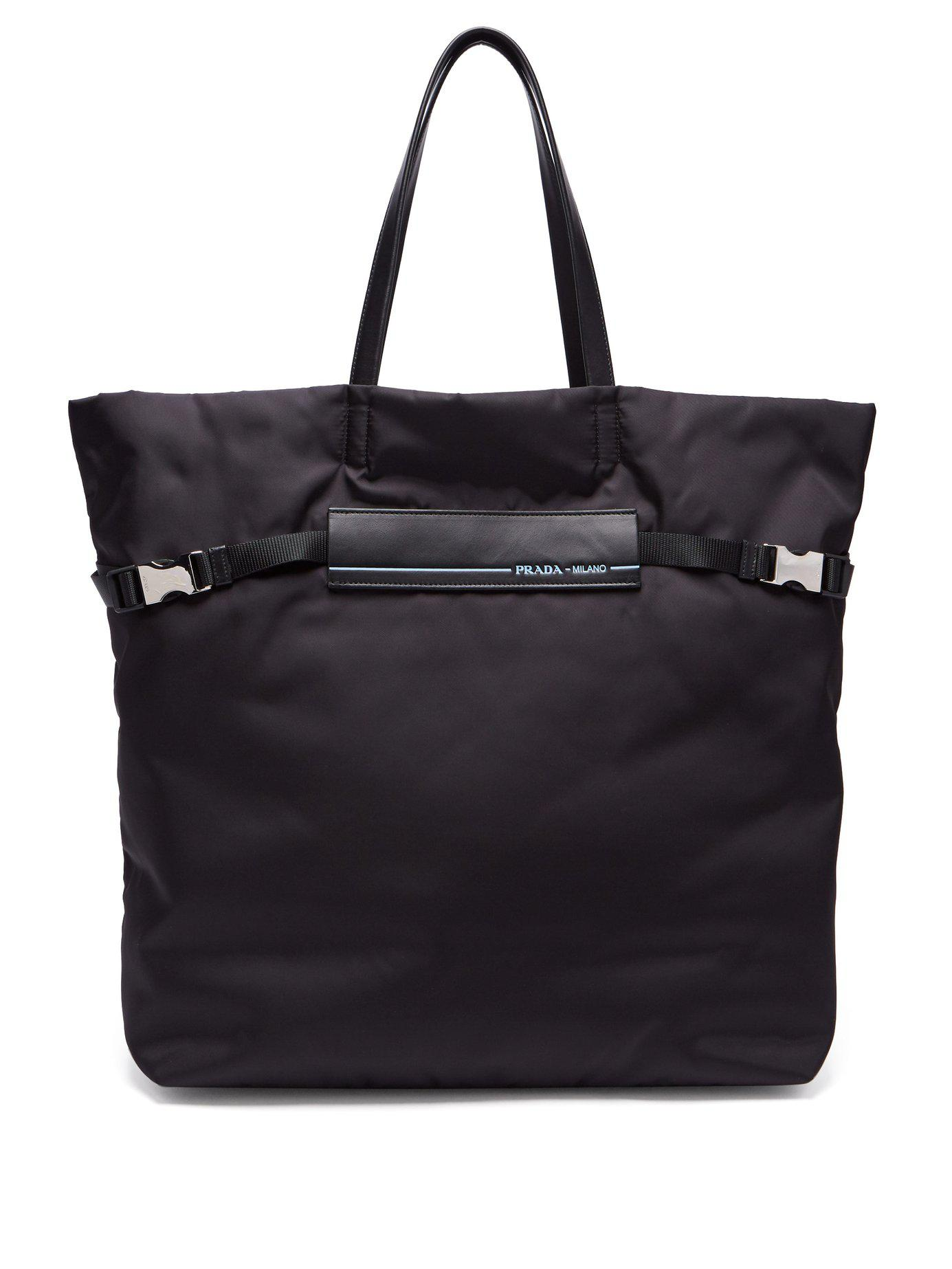 eb44ba7cc94f Prada Logo Patch Nylon Tote Bag in Black - Lyst