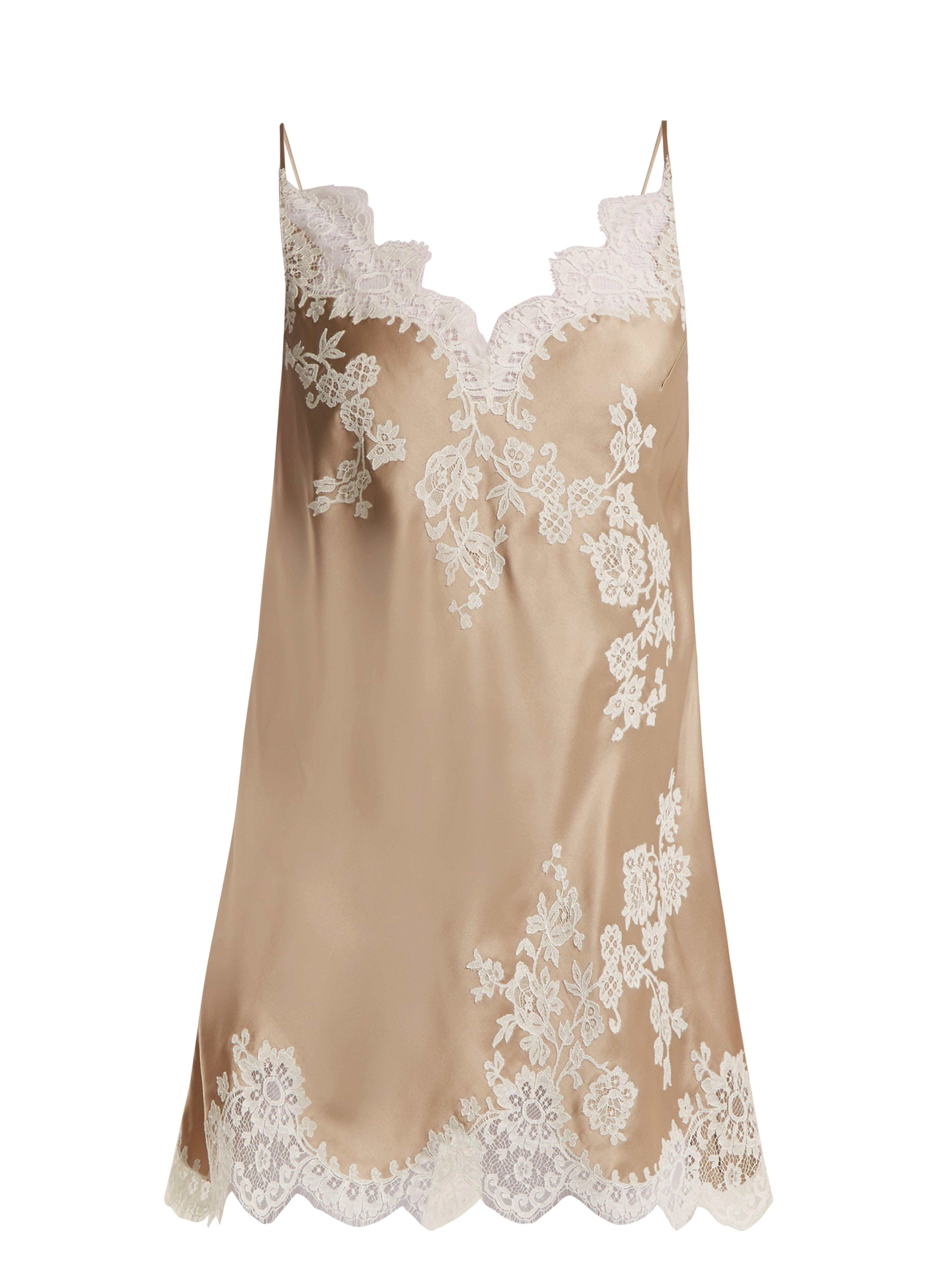 6946a00208ac Carine Gilson Lace Trimmed Silk Satin Cami Dress in Natural - Lyst