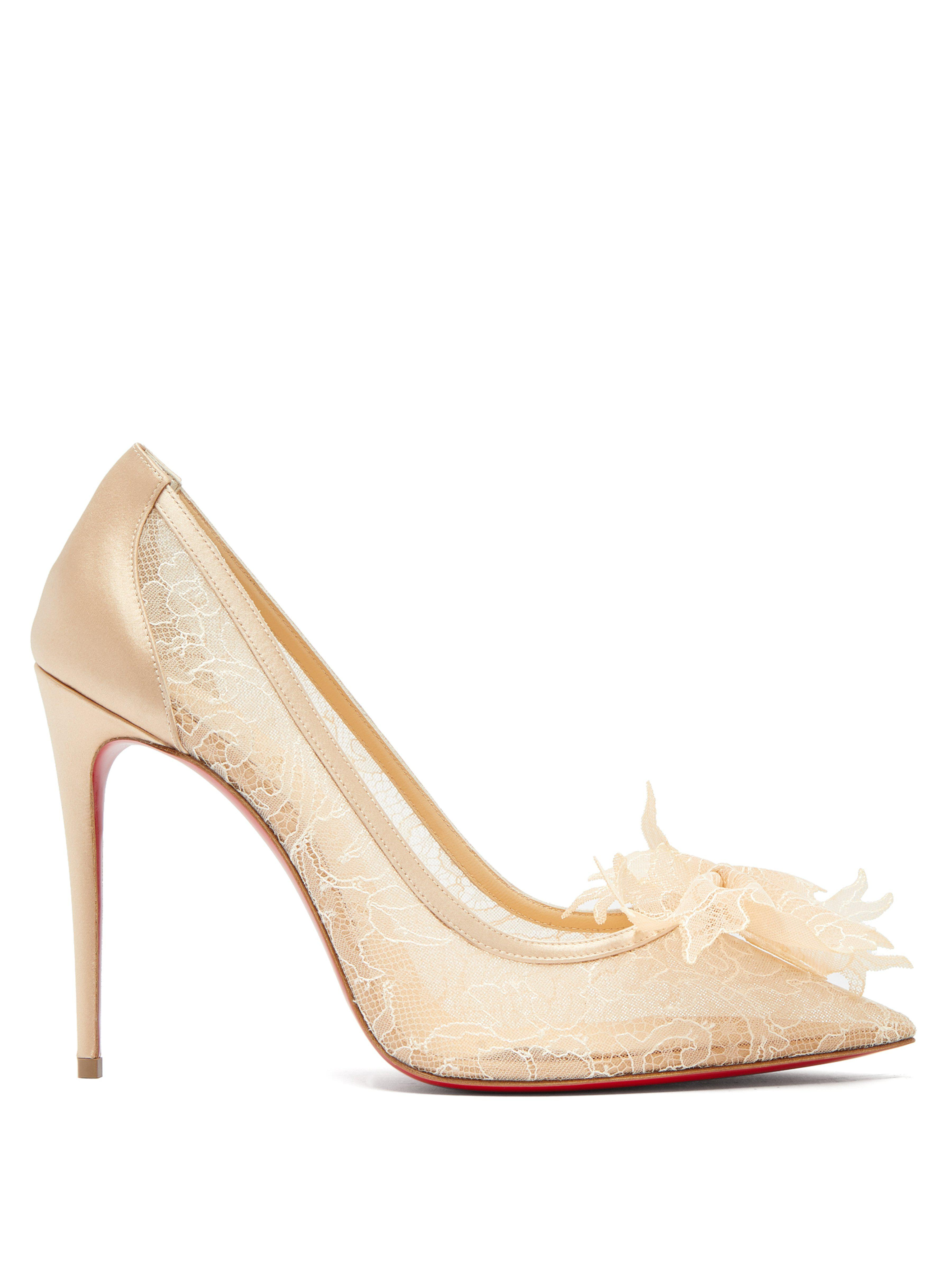 0a925aa4a3ad Christian Louboutin. Women s Natural Delicatissima 100 Lace Court Shoes