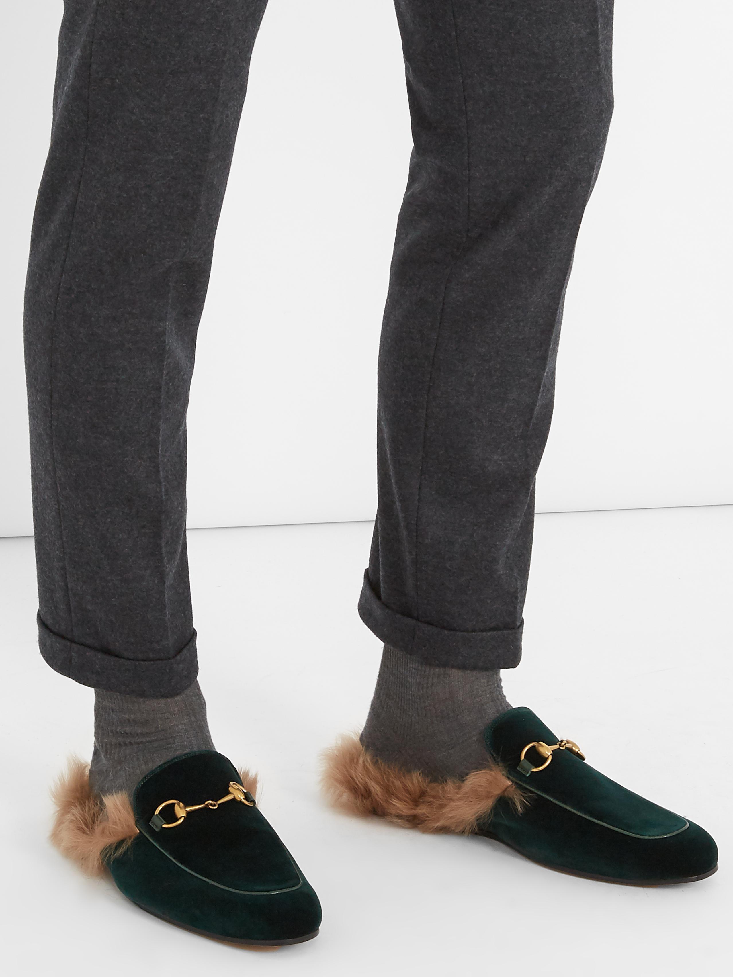 Gucci Princetown Fur-lined Velvet Loafers for Men - Lyst a7ec2d858