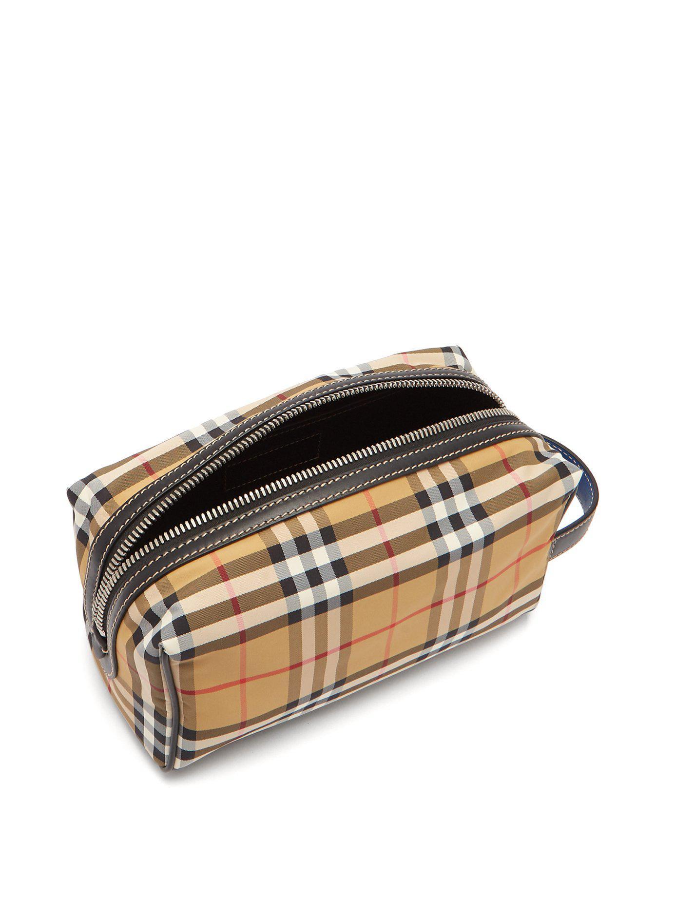 fa2a1942af51 Burberry - Brown Vintage Check Nylon Wash Bag for Men - Lyst. View  fullscreen