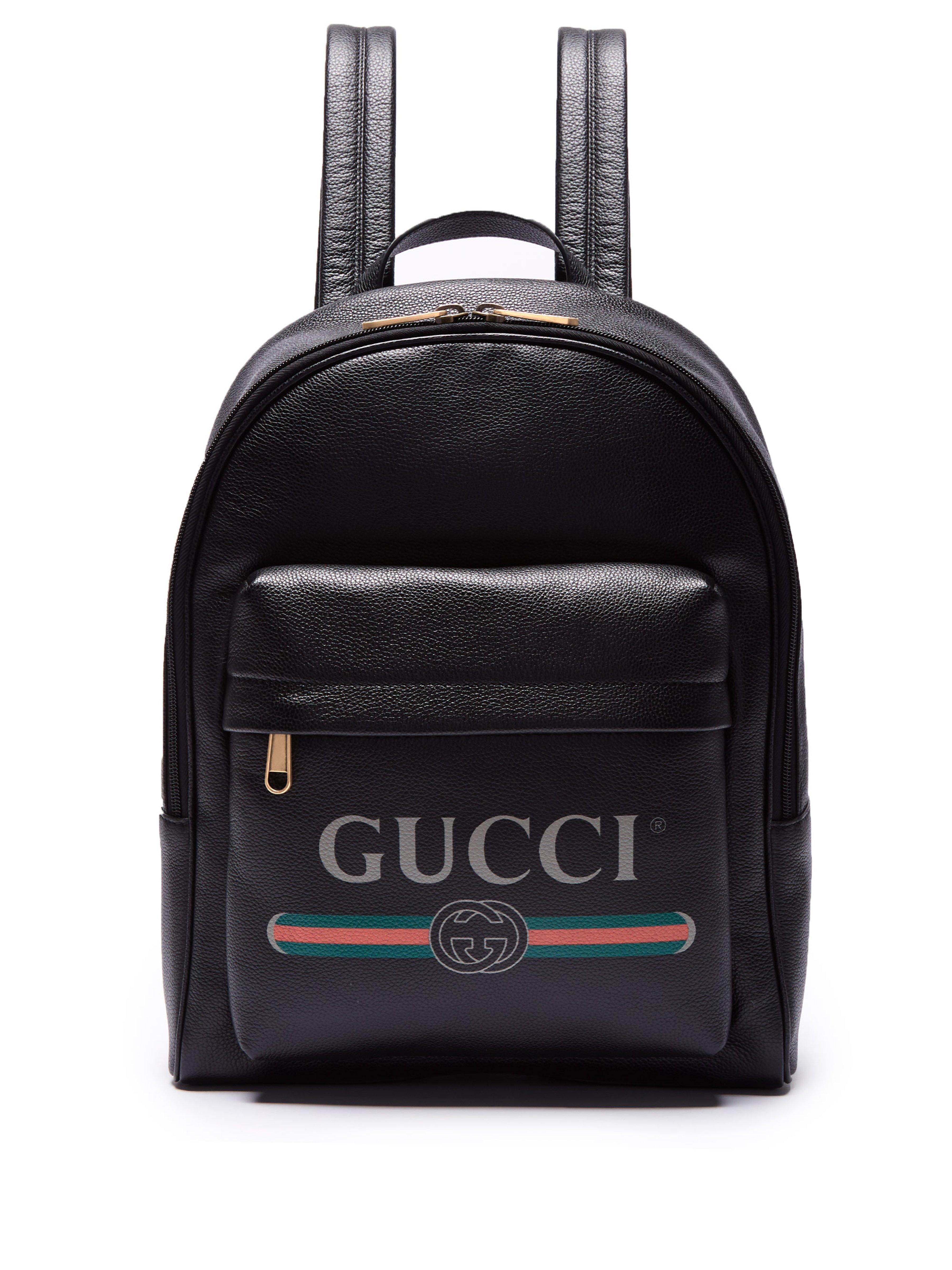 00b1bea12c8f Gucci Logo-printed Backpack in Black for Men - Save 3% - Lyst