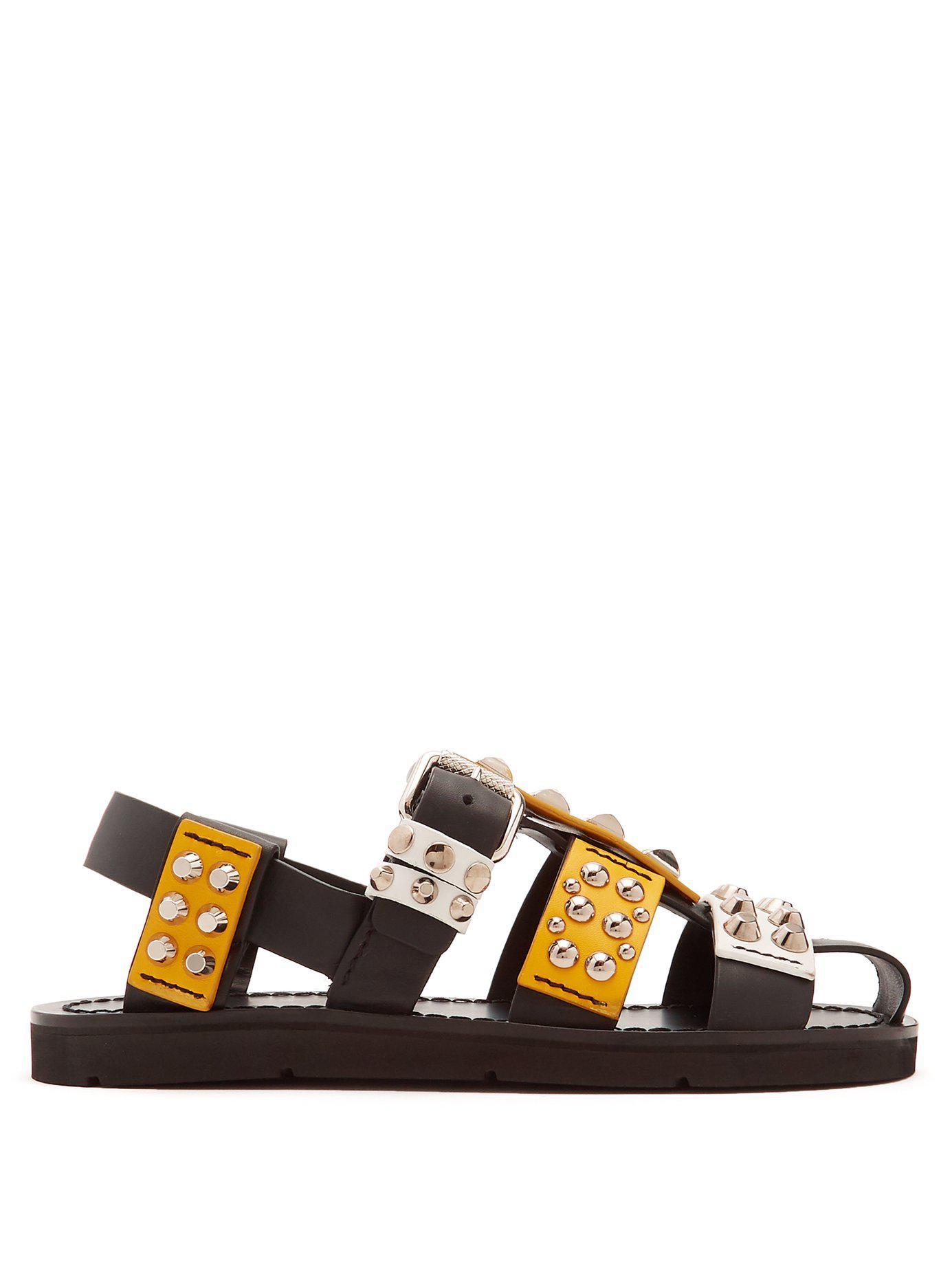 775584247678 Lyst - Prada Stud Embellished Leather Sandals in Black