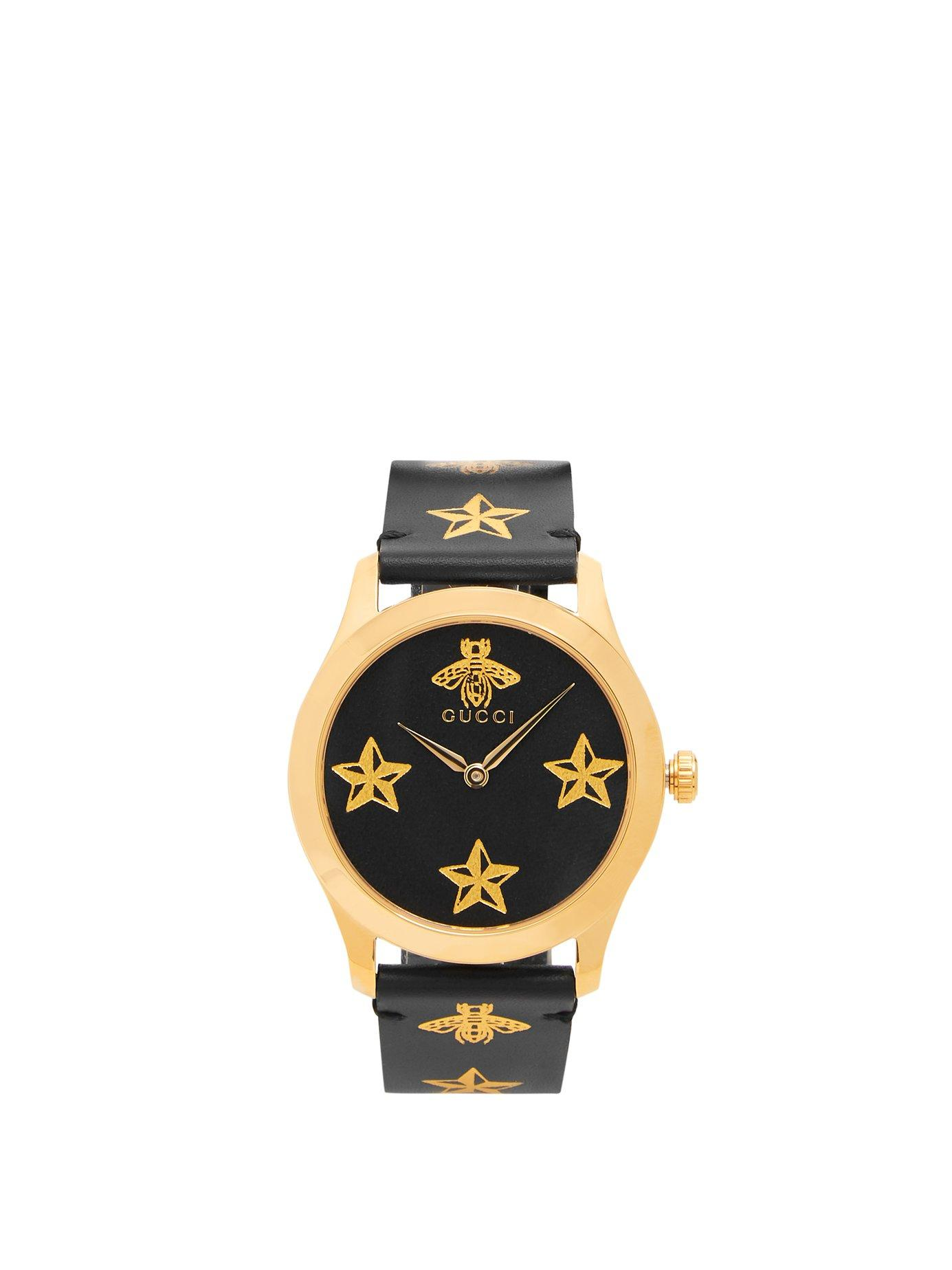 0929c651370 Gucci - Black G Timeless Bee And Star Print Leather Watch for Men - Lyst.  View fullscreen