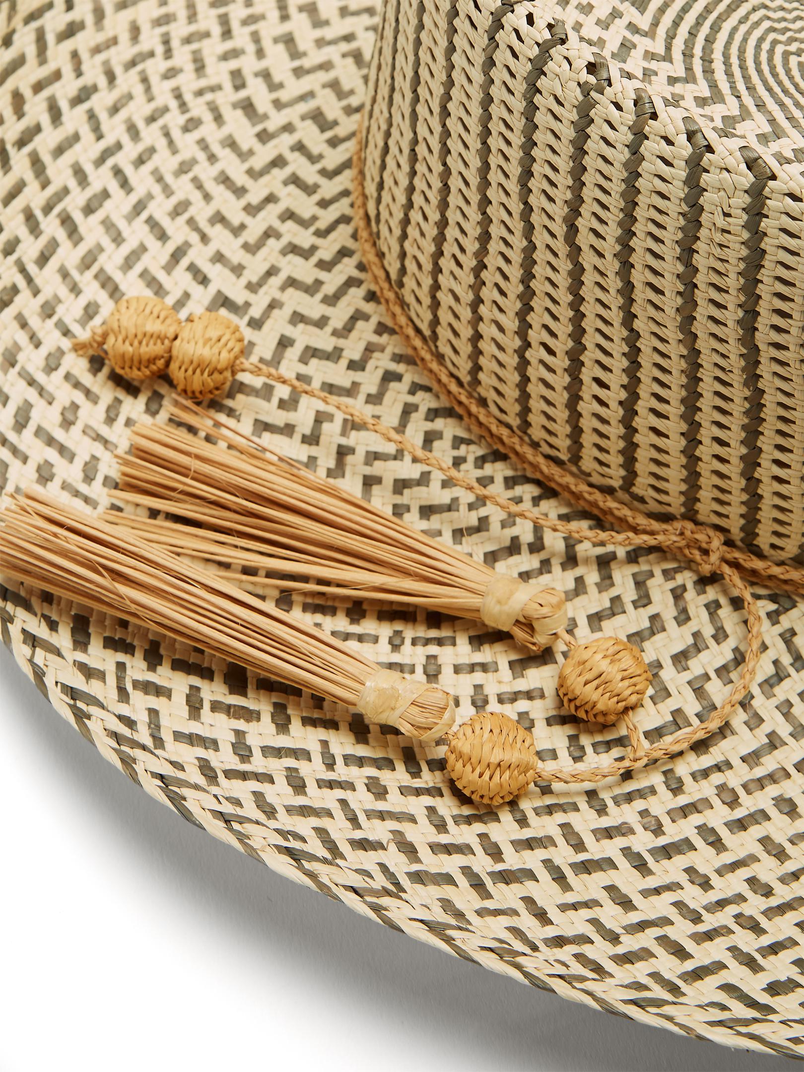 2022 tassel-embellished woven-straw hat Sensi Studio P3Rby5