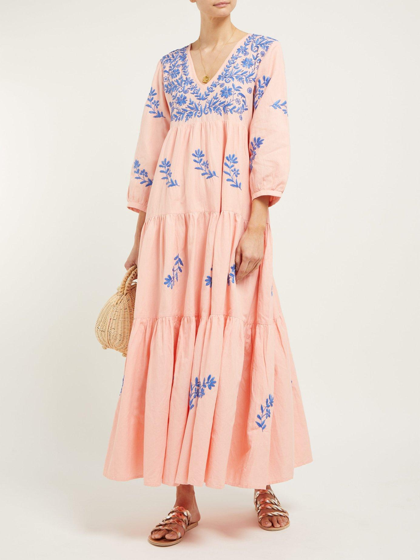 03d316e59db Lyst - Muzungu Sisters Frangipani Embroidered Cotton-blend Maxi Dress in  Pink - Save 19%