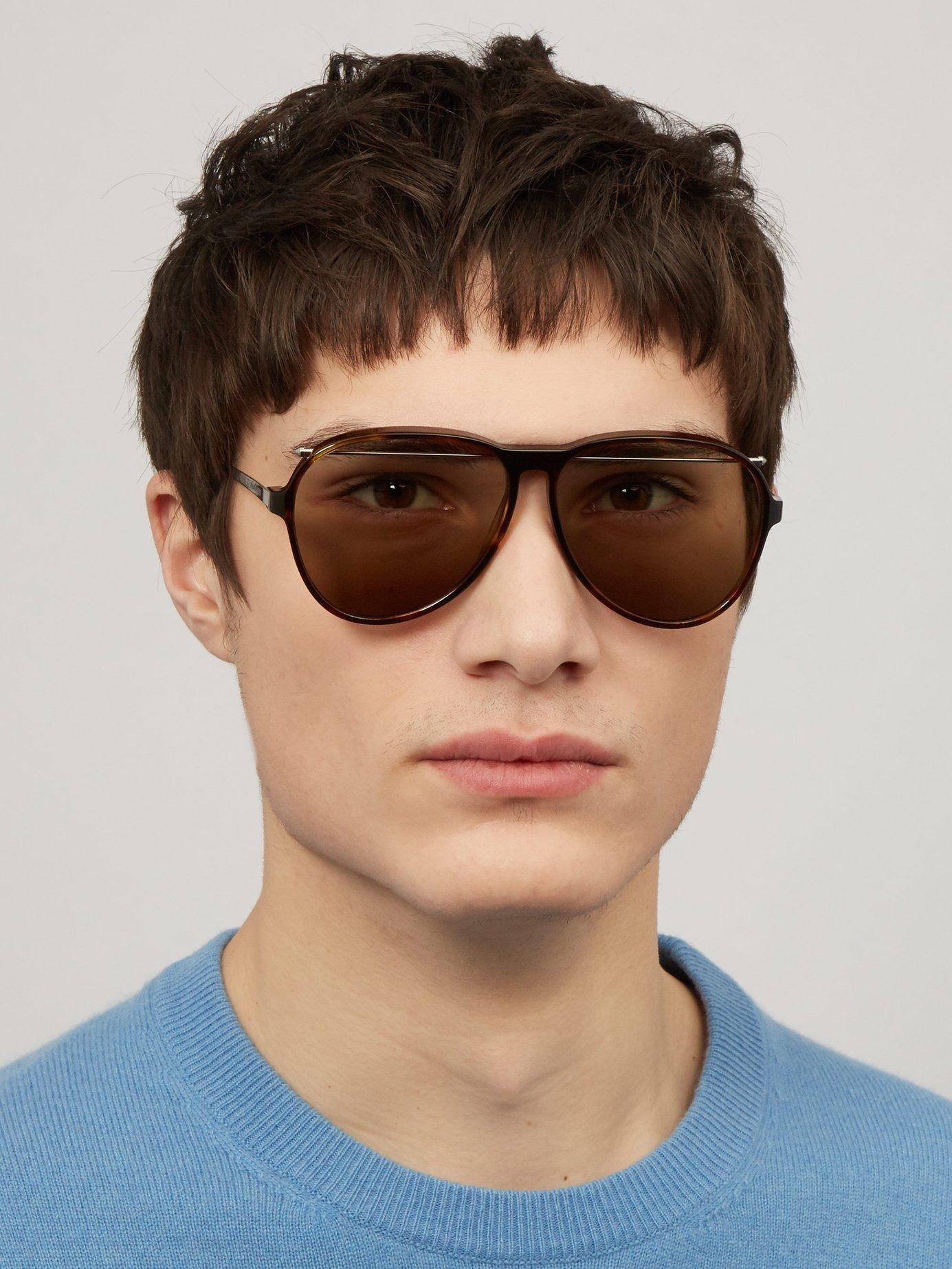 042c800cde8b Lyst - Alexander McQueen Aviator Frame Sunglasses in Brown for Men