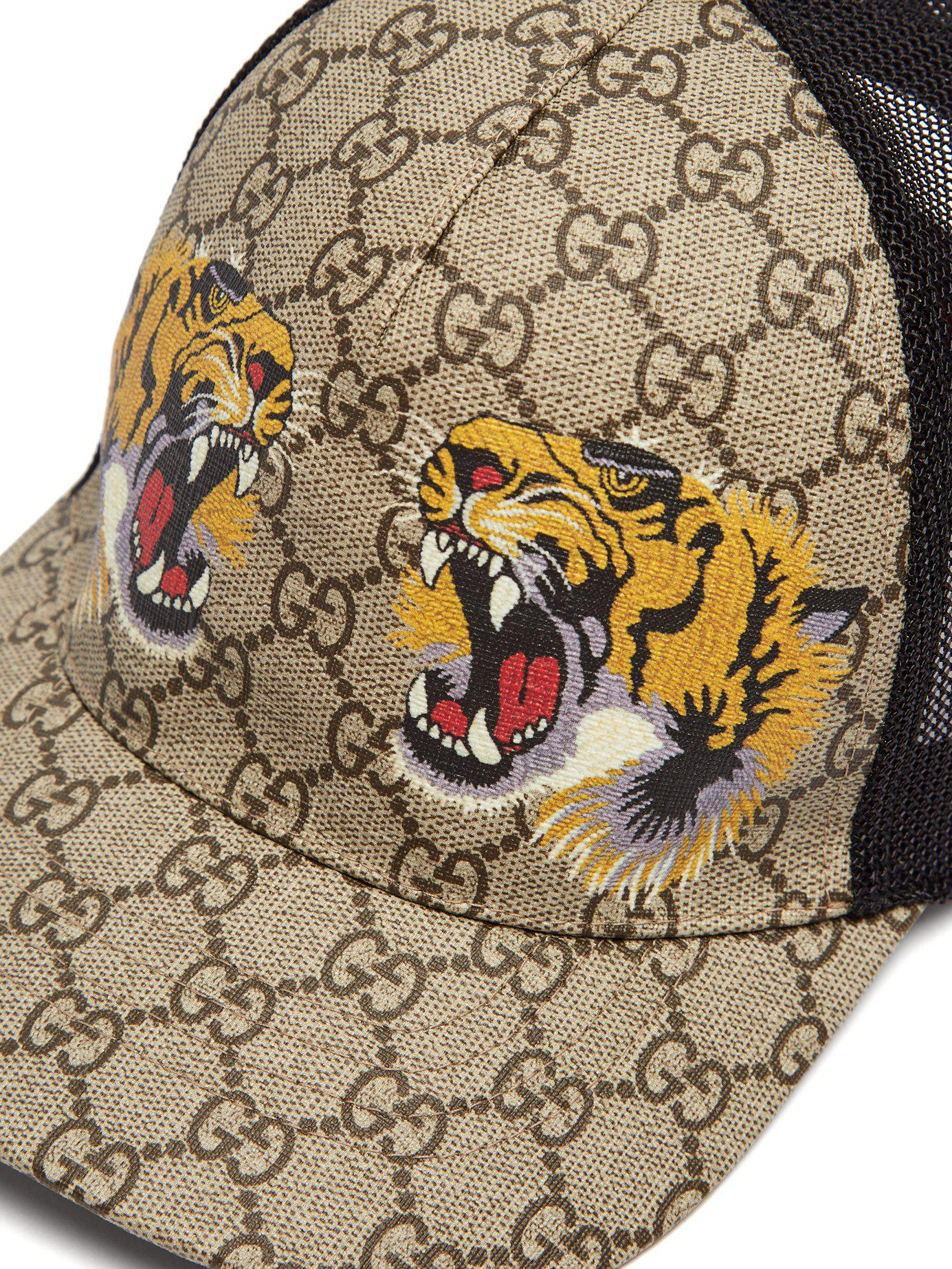 f96b986771d Lyst - Gucci Gg Supreme And Tiger Print Mesh Cap in Natural for Men