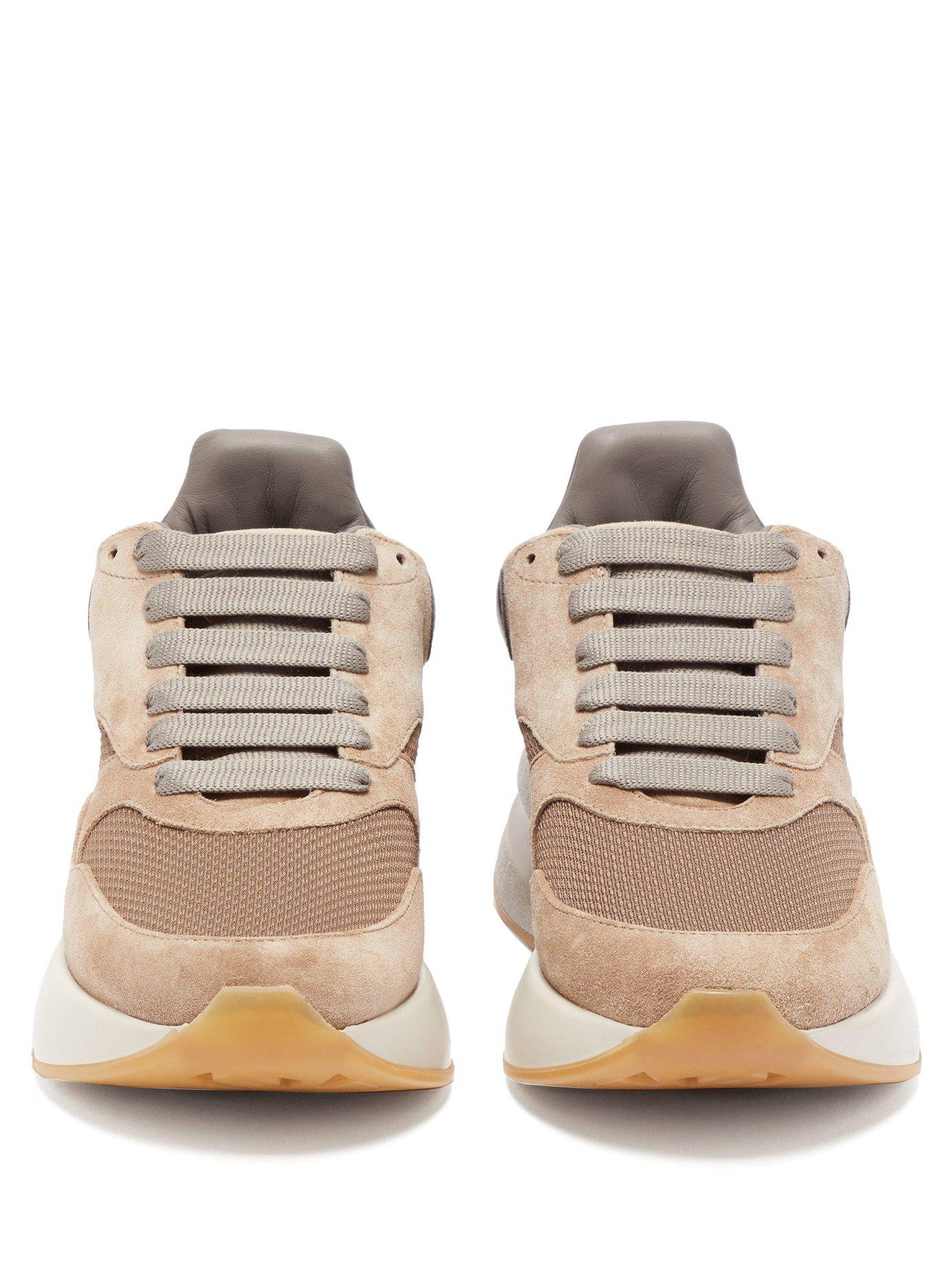 c0774e10fc3b Lyst - Alexander McQueen Runner Raised-sole Low-top Suede And Mesh ...