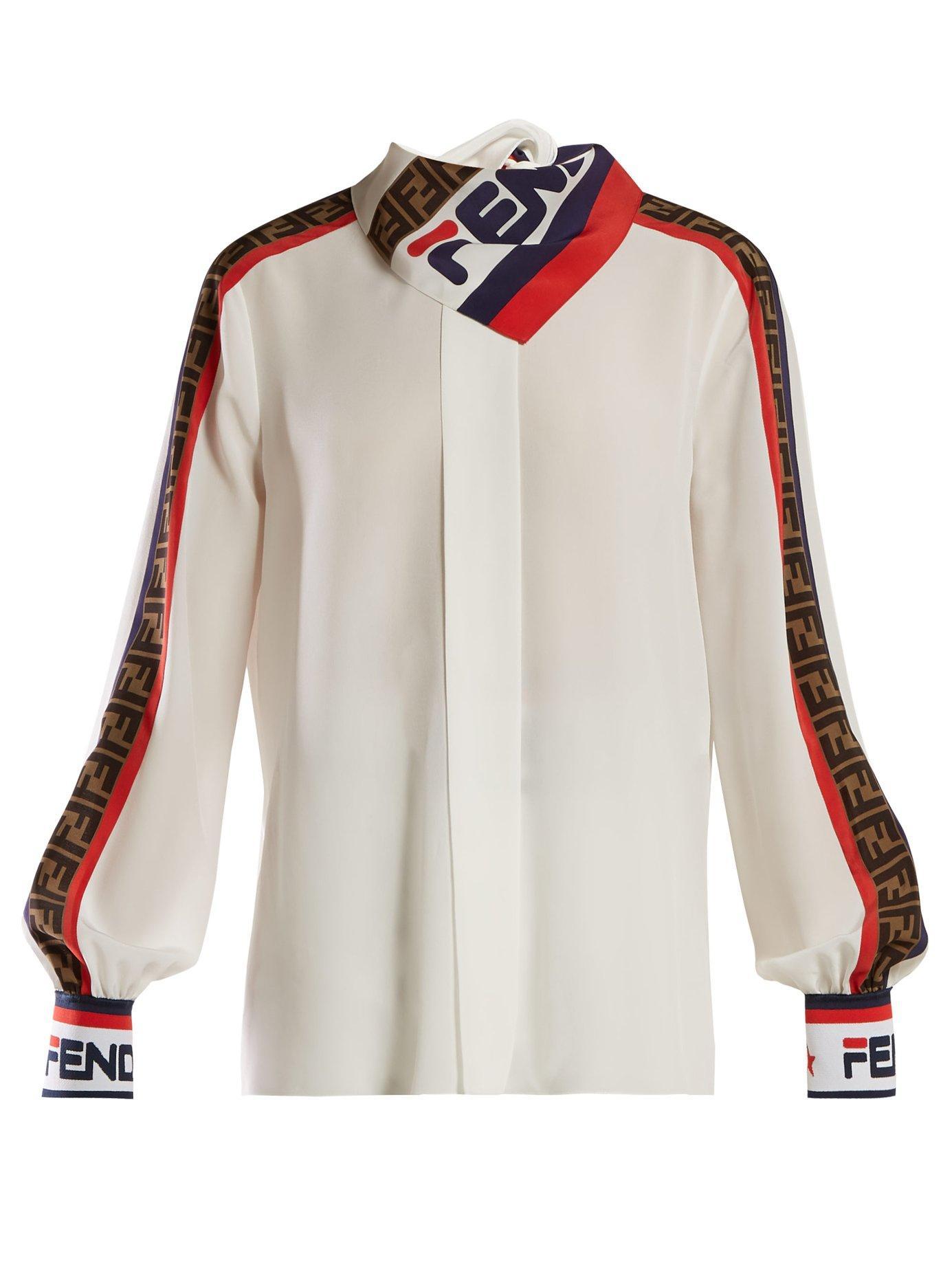 afa5c453de3f Lyst - Fendi Mania Logo Print Silk Blouse in White