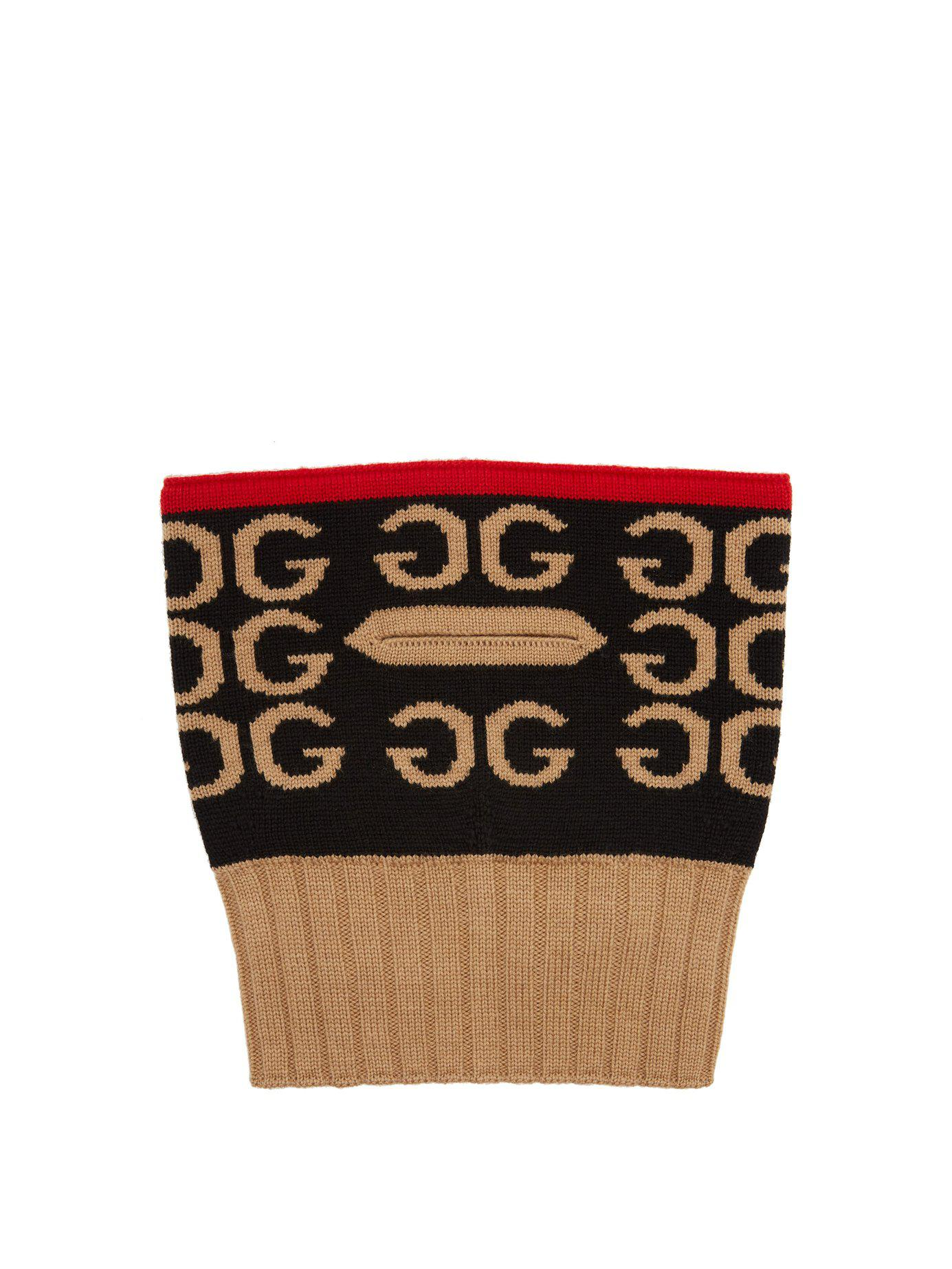 9e23cd33201 Lyst - Gucci Gg Intarsia Wool Balaclava in Red
