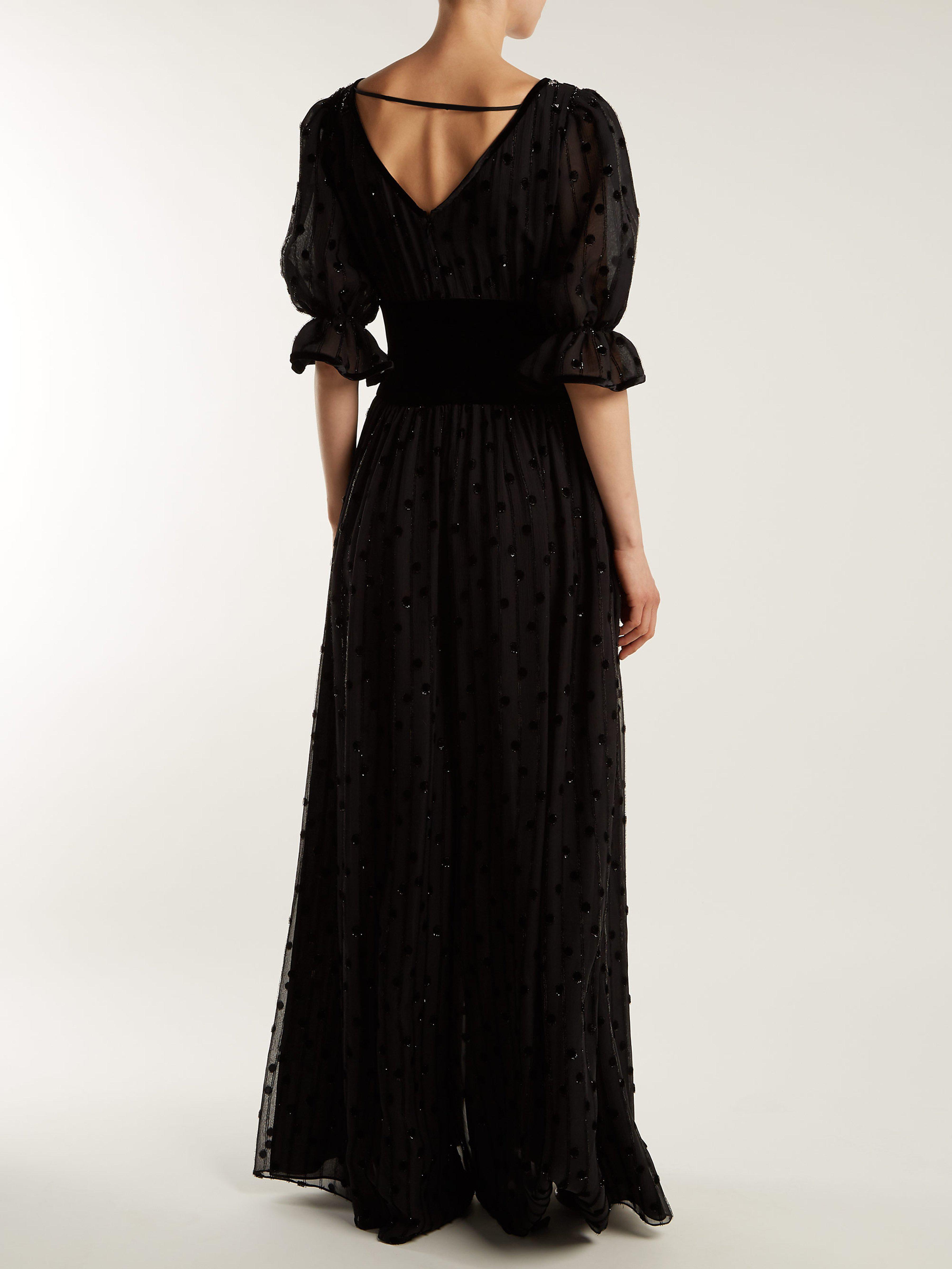 a368efcc4e9 Valentino - Black Silk Georgette   Velvet Jumpsuit - Lyst. View fullscreen