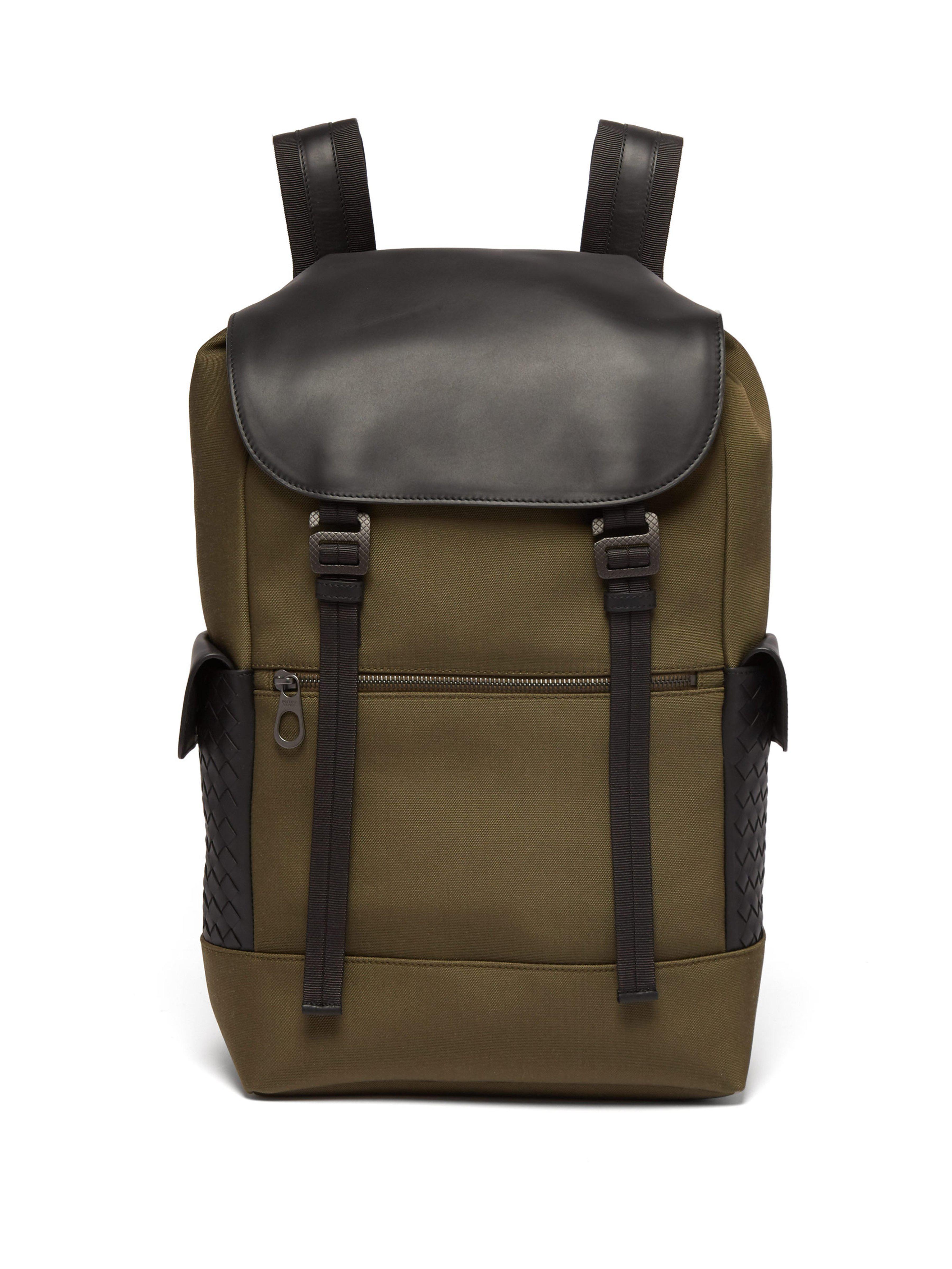 2fc223fbcaf6 Bottega Veneta Sassolungo Canvas And Leather Backpack for Men - Lyst