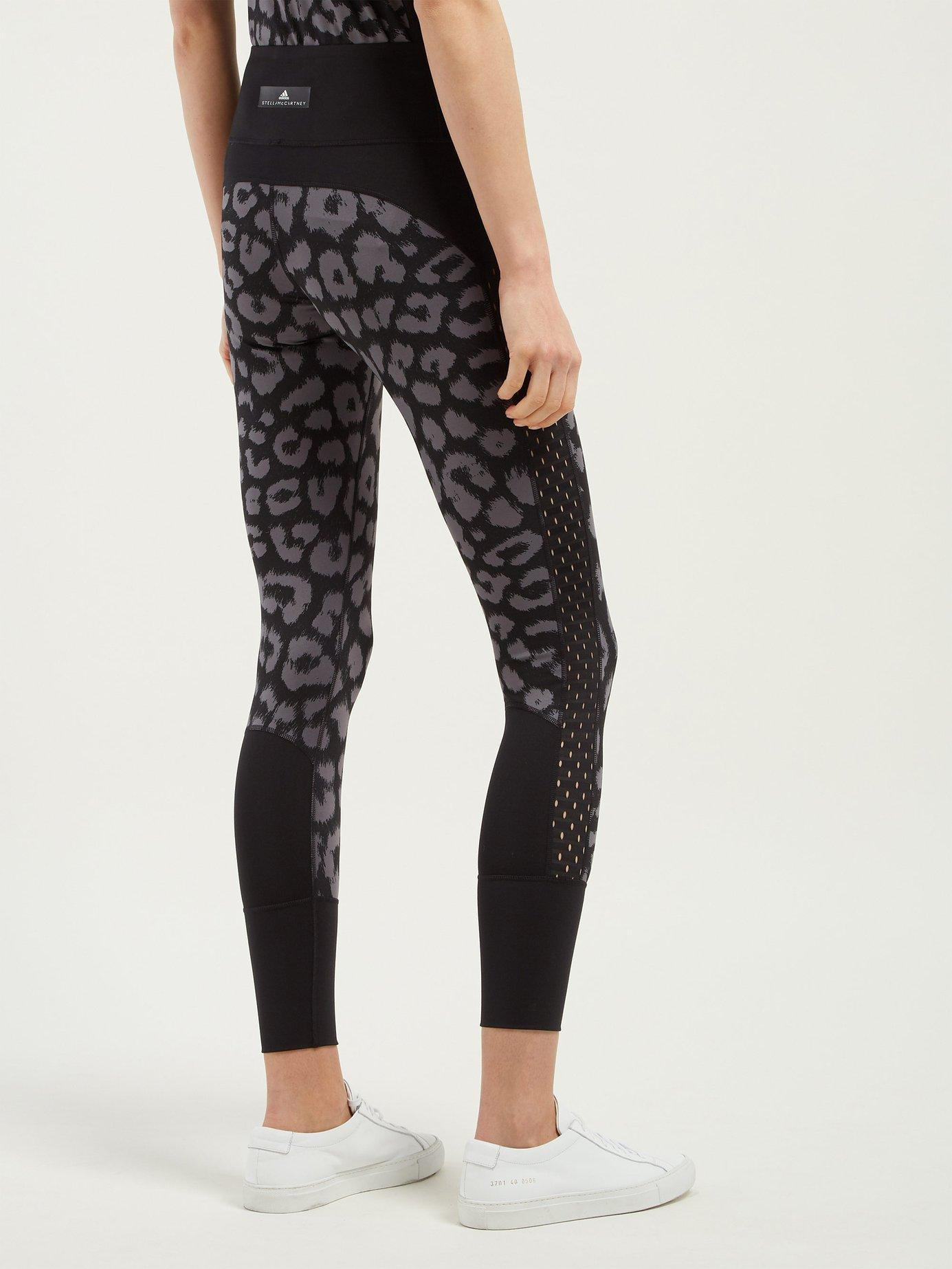303e28f043521 Adidas By Stella McCartney - Black Believe This Comfort Leopard Print  Leggings - Lyst. View fullscreen