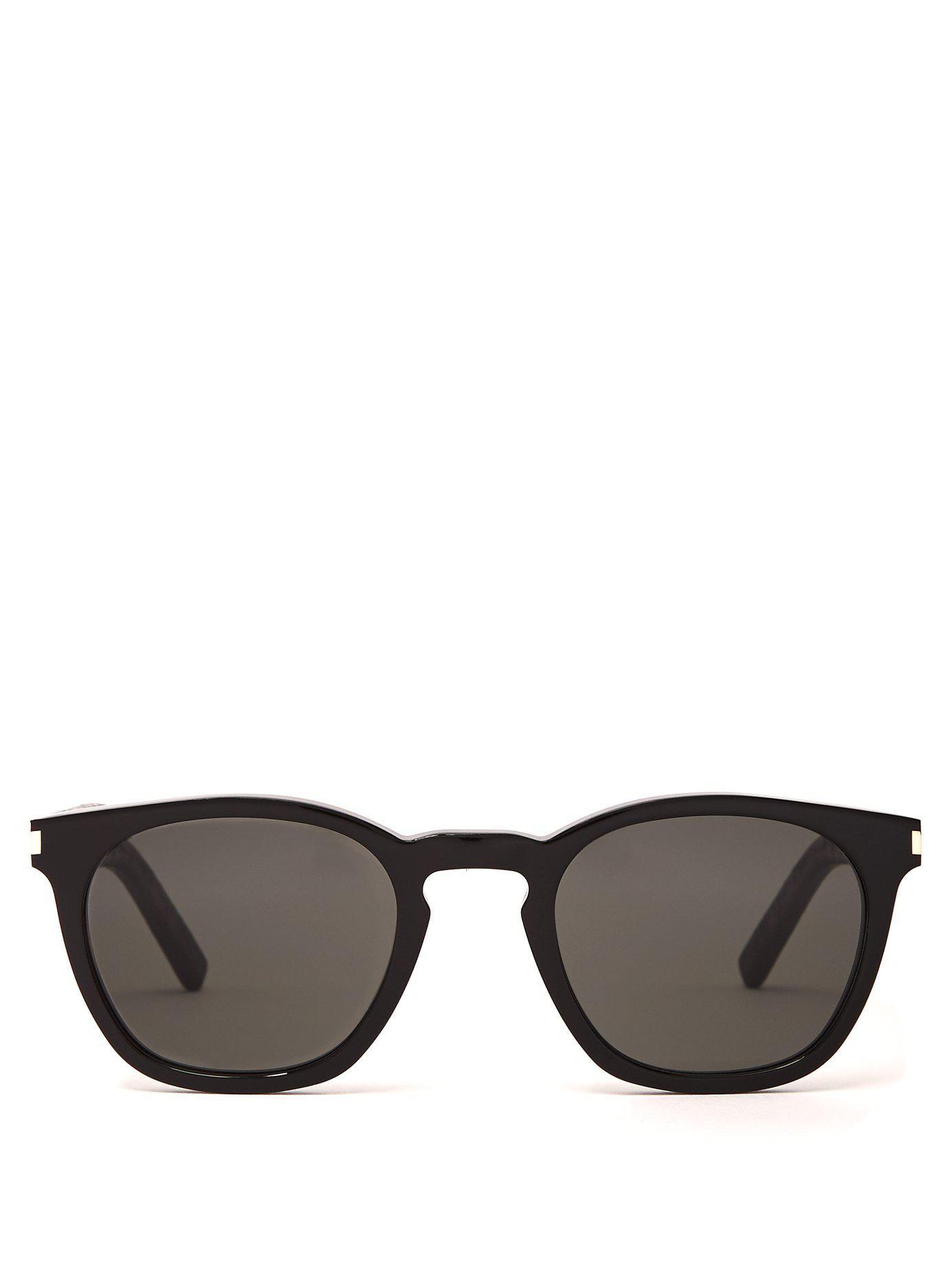 e3432642b66e Lyst - Saint Laurent Round Acetate Sunglasses in Black for Men