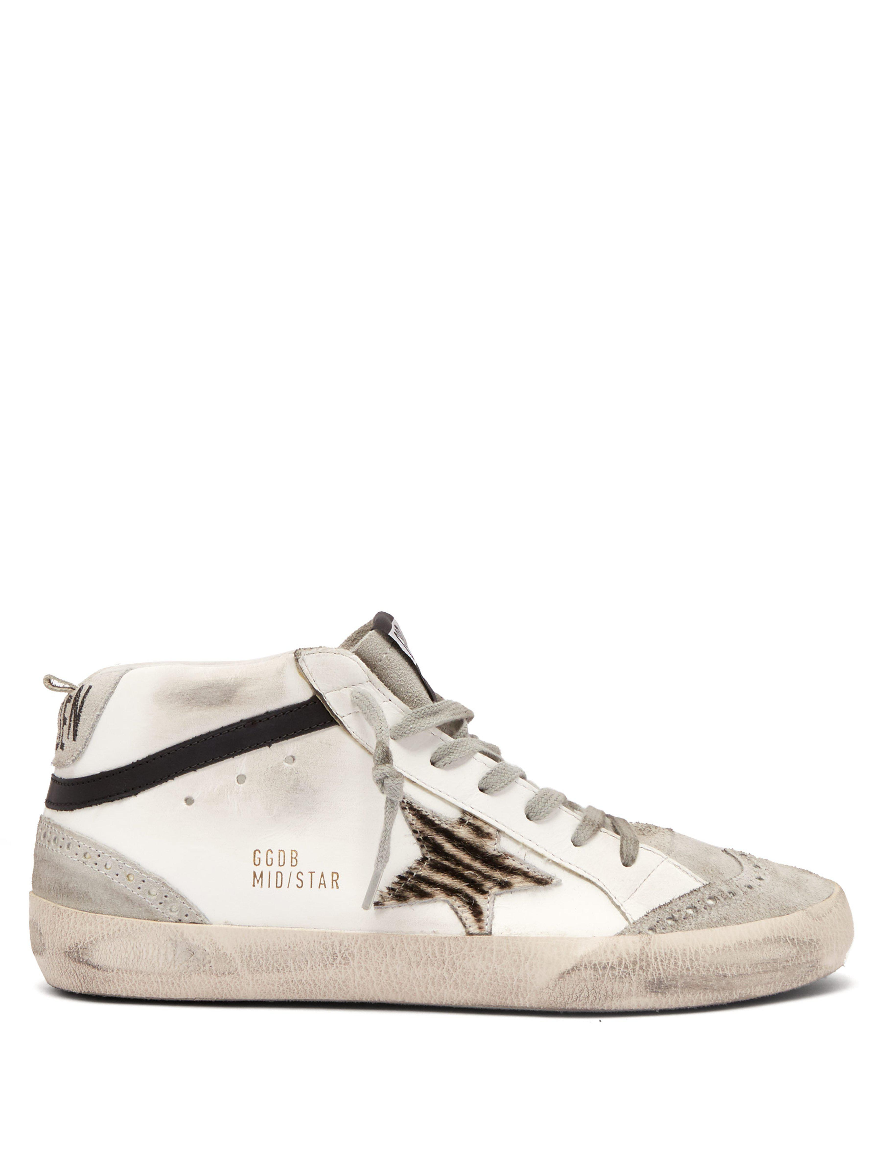 eb2195878513 Golden Goose Deluxe Brand. Women s Gray Mid Star Mid Top Leather Trainers