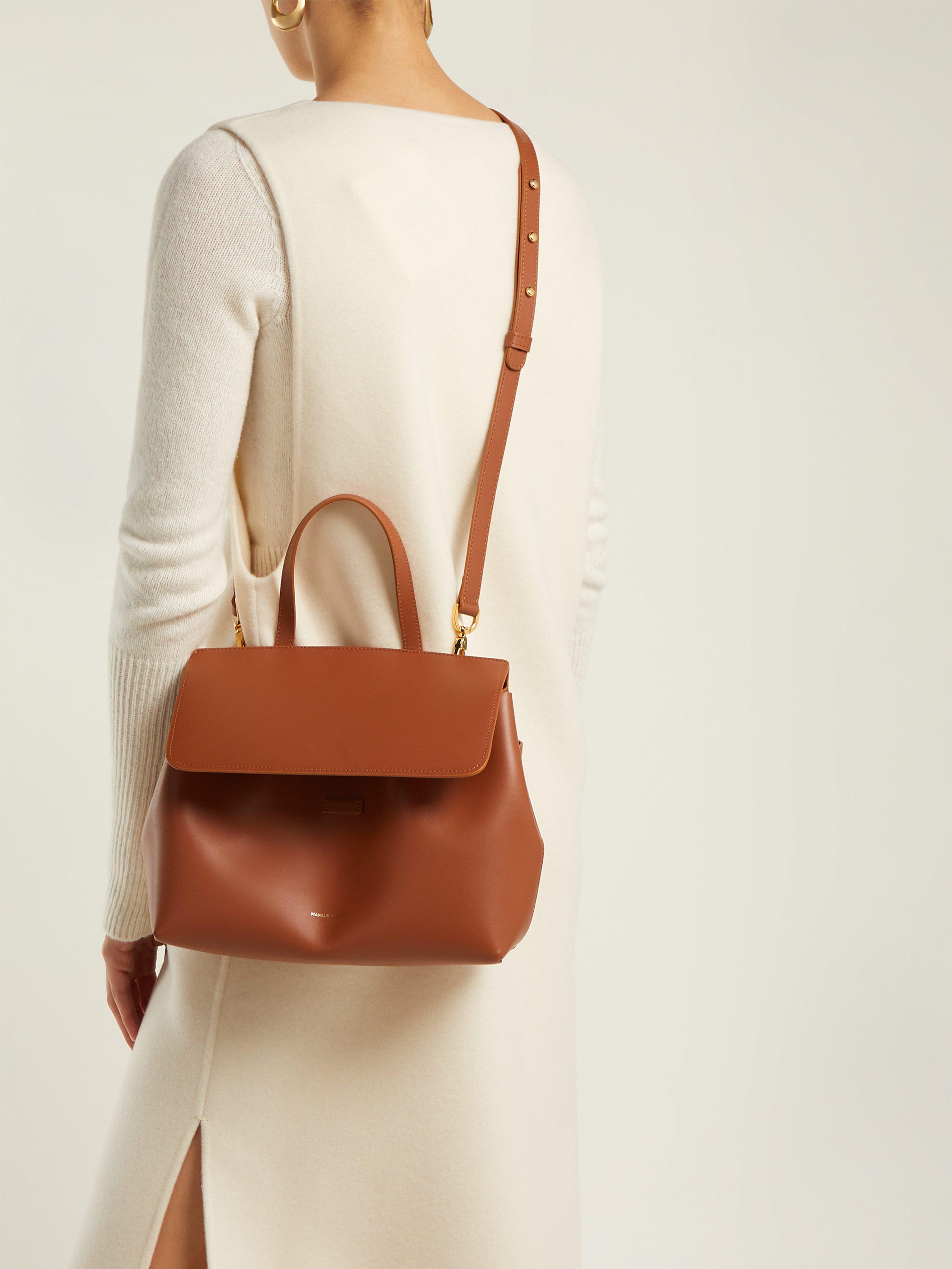 dc11b045c718 Mansur Gavriel Mini Lady Drawstring Leather Bag in Brown - Lyst