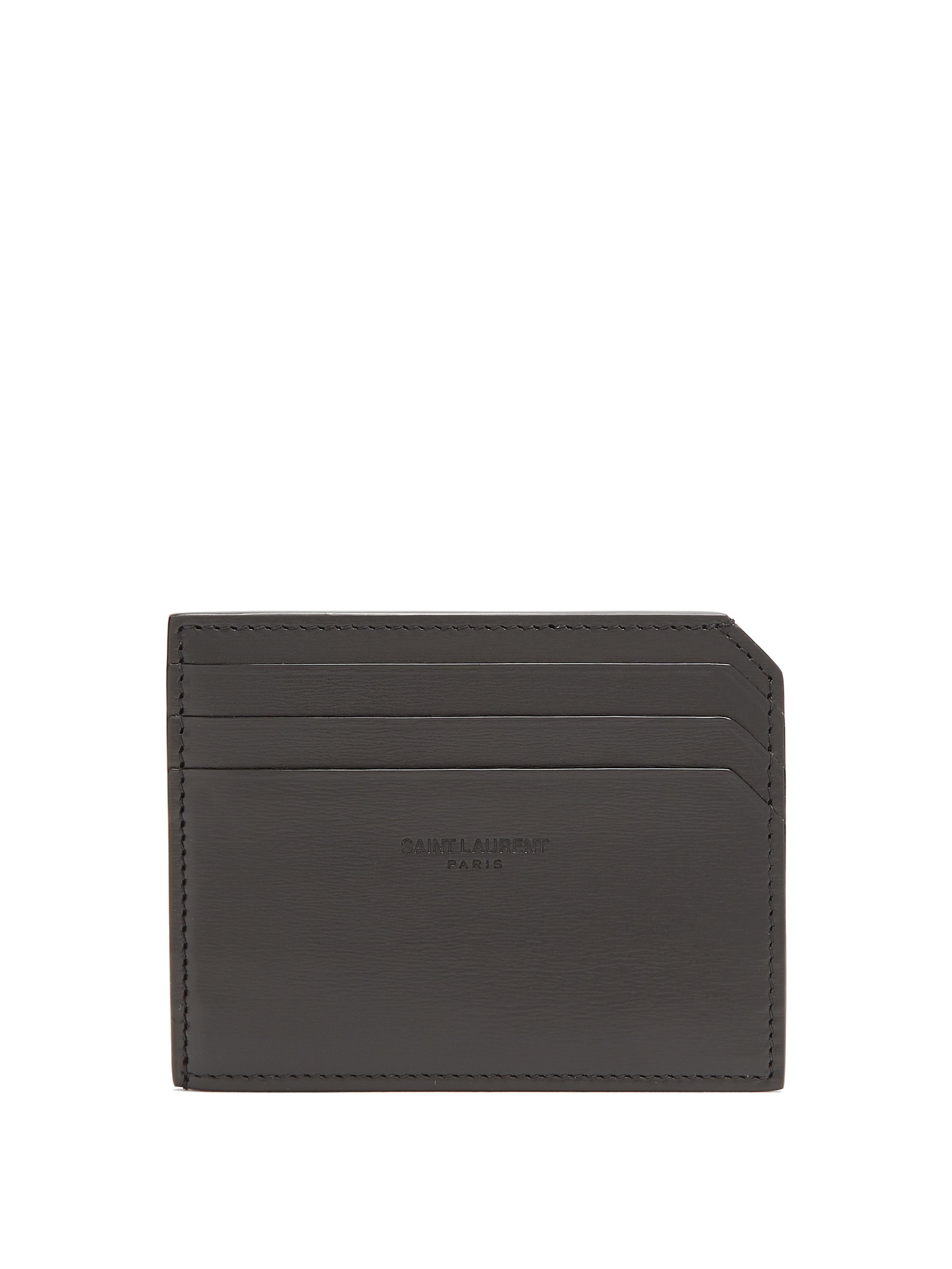 cd846dd2309 Saint Laurent Fragments Leather Cardholder in Black for Men - Lyst