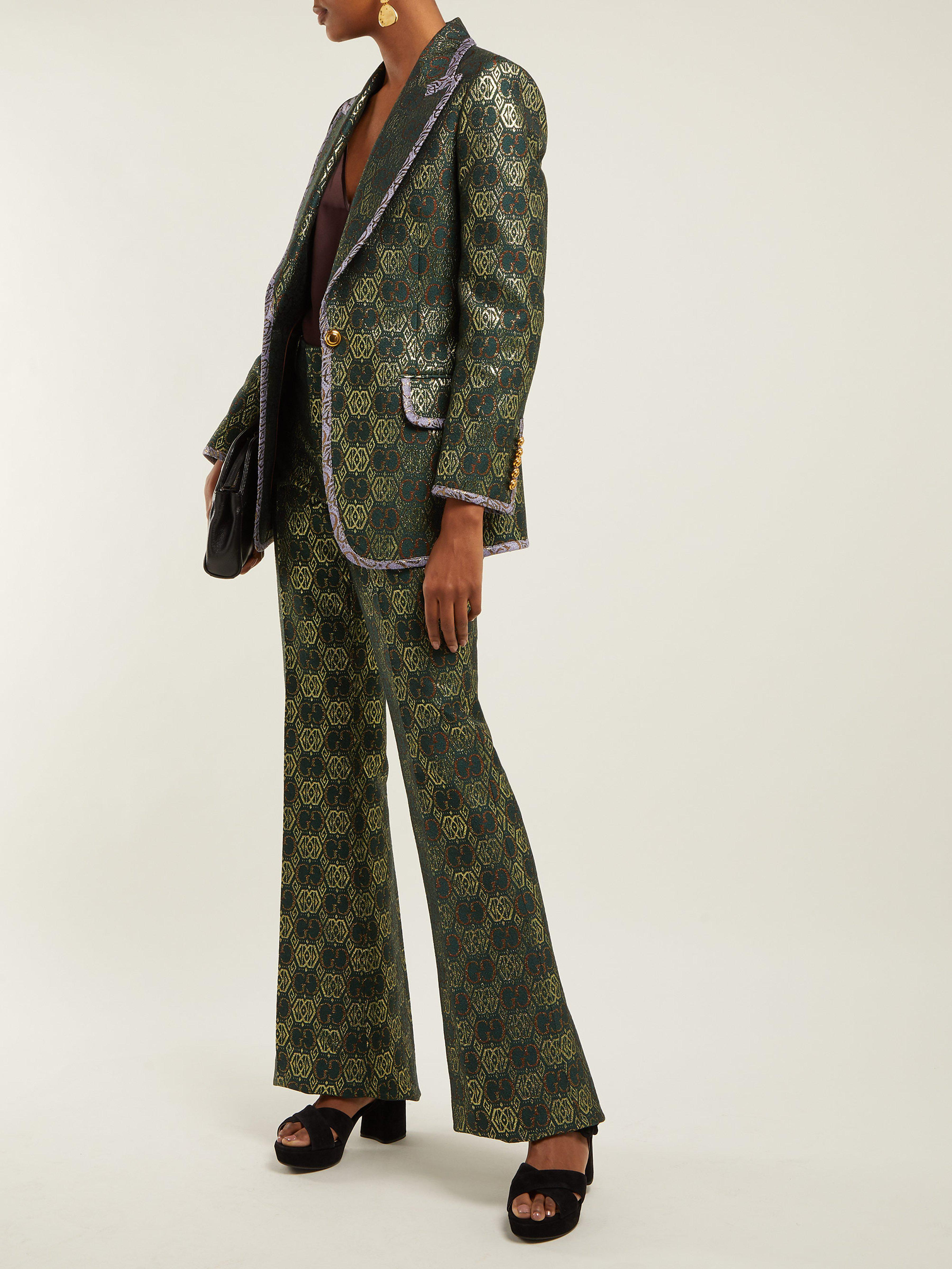 547638ad2 Gucci Gg Jacquard Flared Trousers in Green - Lyst