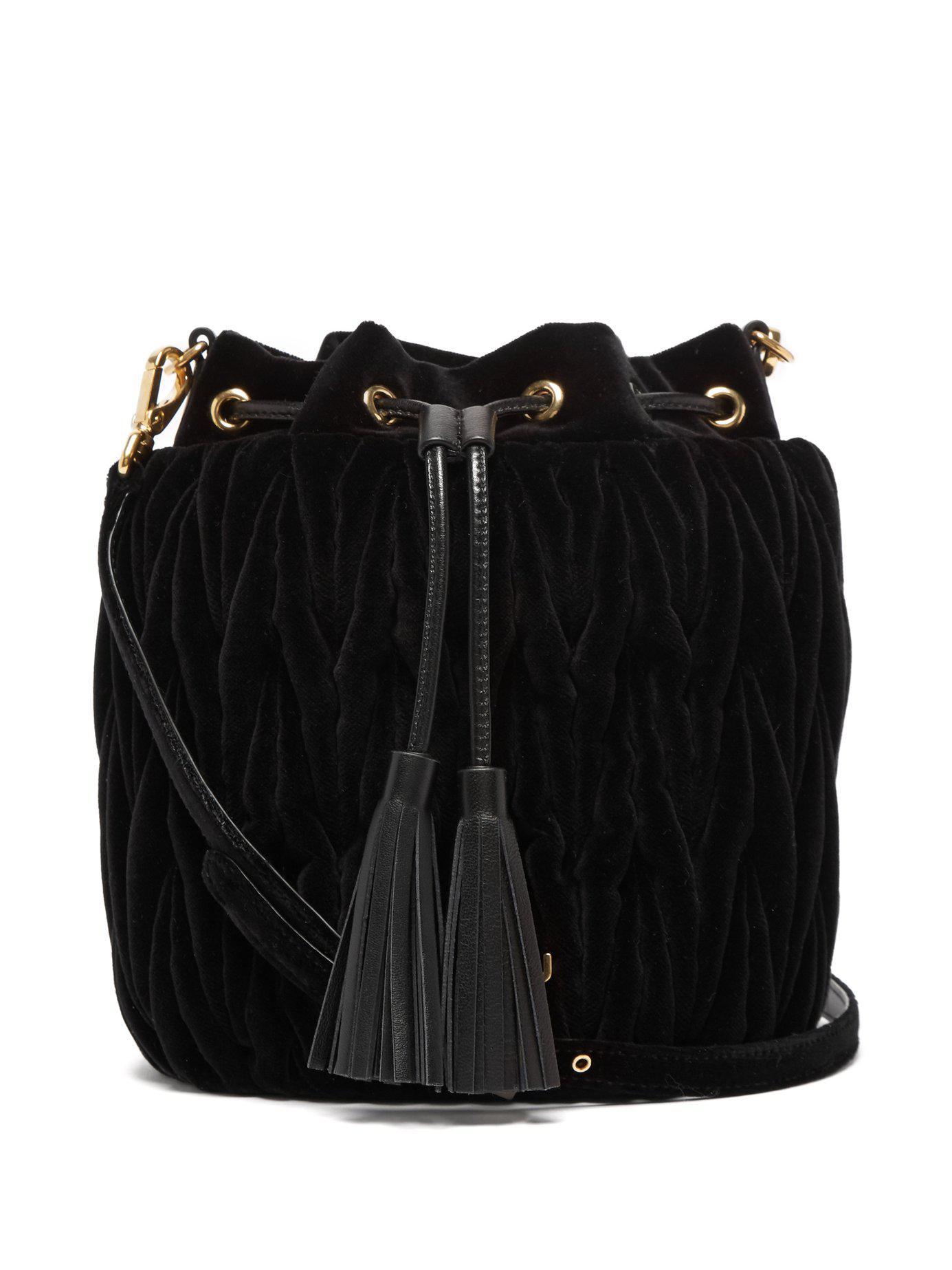 2535ae437f81 Miu Miu - Black Matelassé Velvet Bucket Bag - Lyst. View fullscreen
