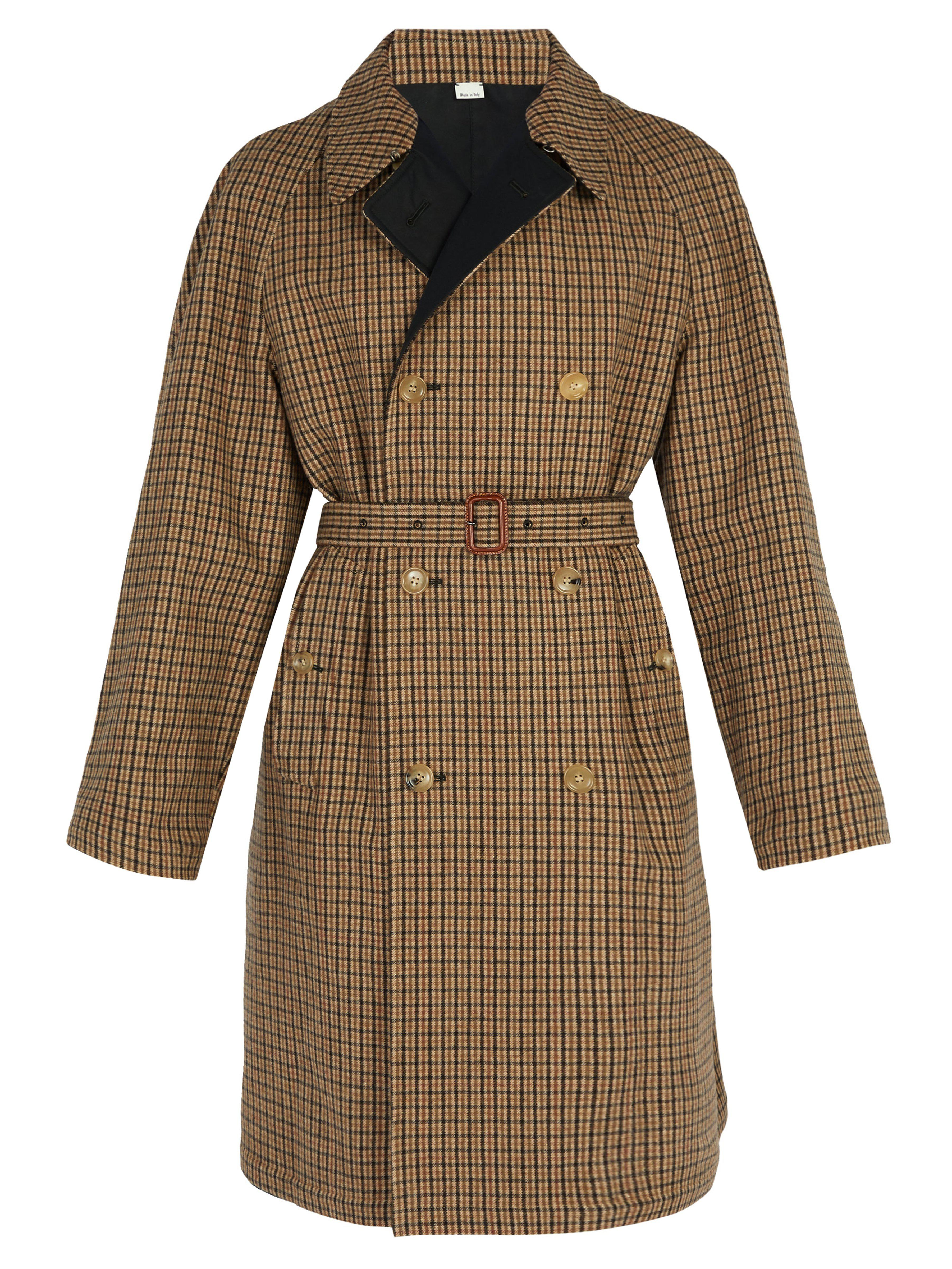 7005832950b5 Gucci Reversible Embroidered Wool Trench Coat in Brown for Men - Lyst