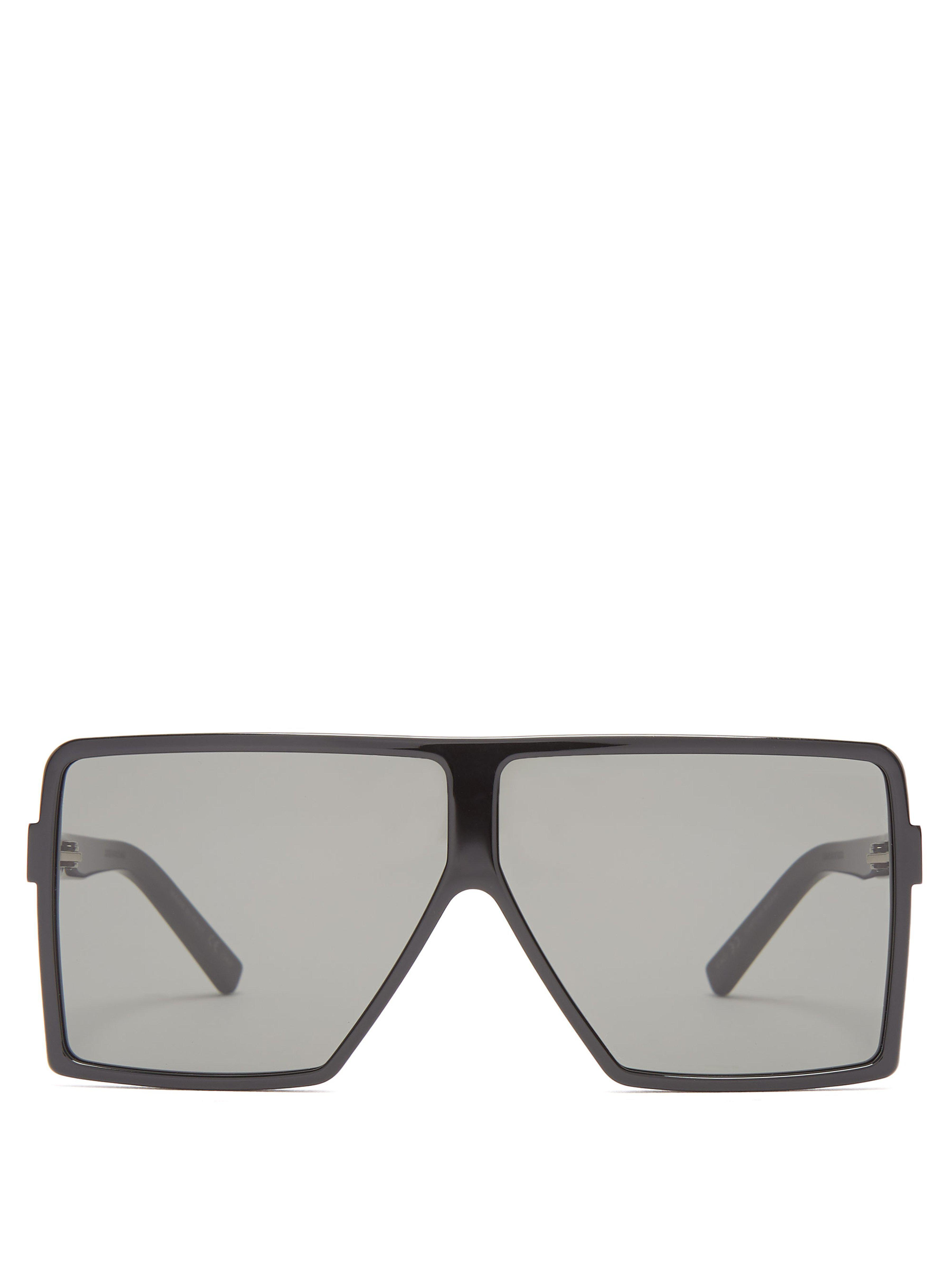 04a3ff5e3428 Saint Laurent Betty Flat Top Acetate Sunglasses in Black - Lyst