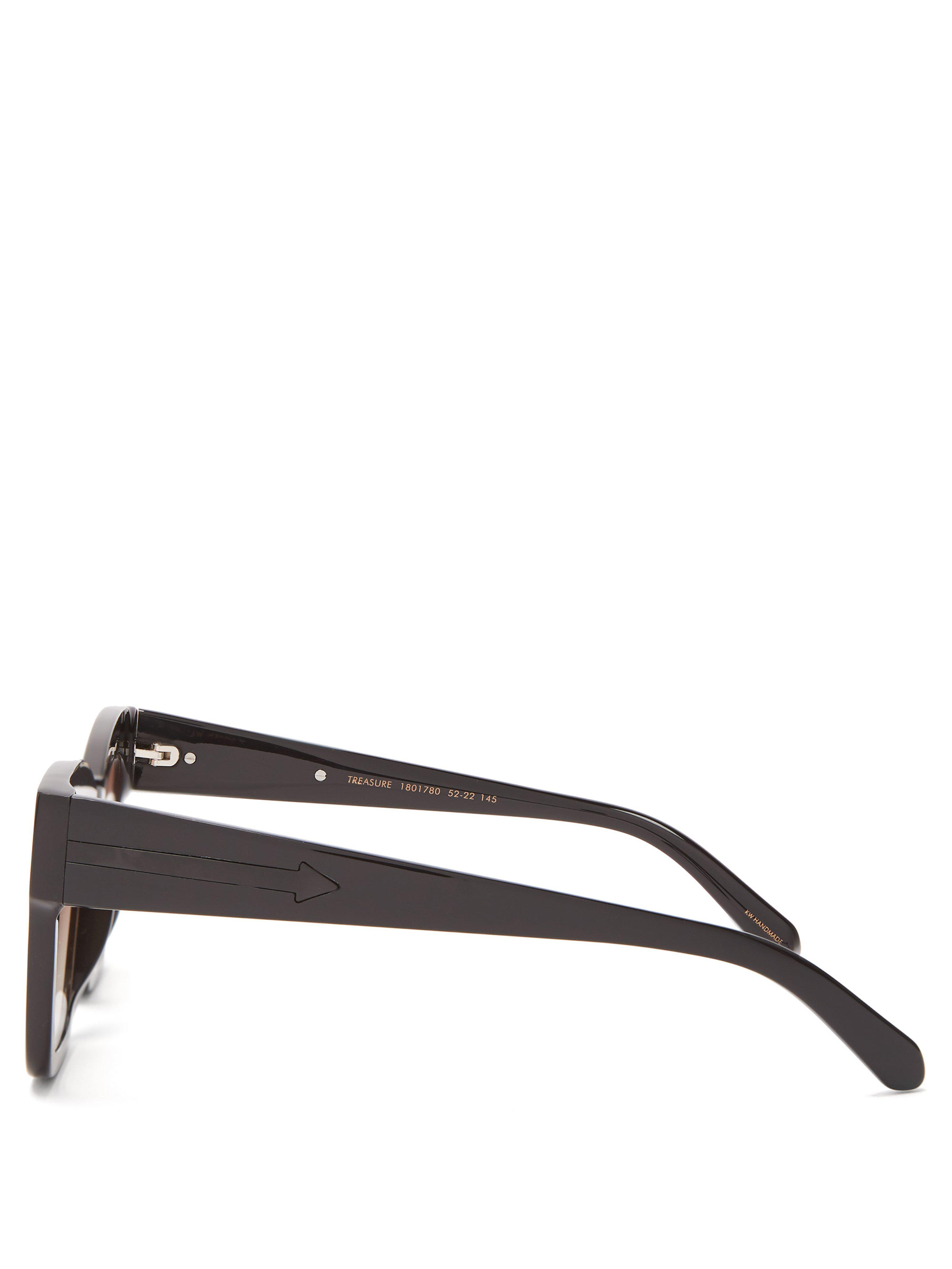 dbd31110a9 Karen Walker Treasure Acetate Cat-eye Sunglasses in Black - Lyst