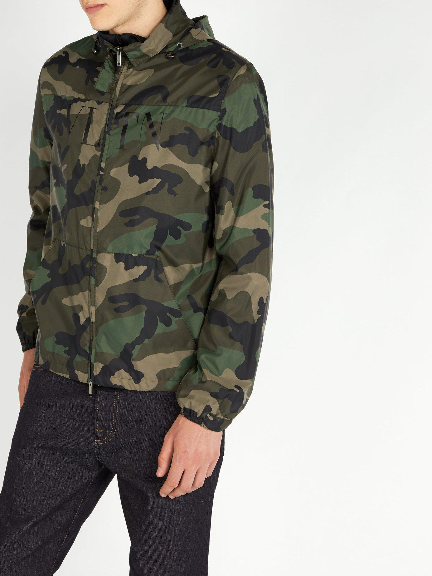 9415c75368ba9 Lyst - Valentino Camouflage Print Windbreaker Jacket in Green for Men