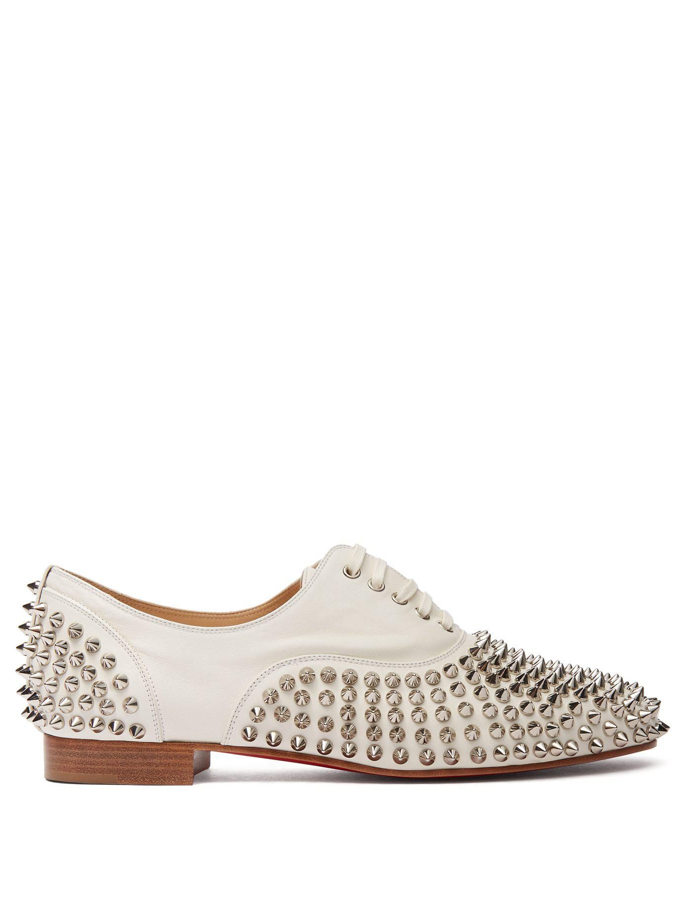 41e9f2e825d4 Christian Louboutin. Women s White Freddy Spikes Donna Leather Oxfords