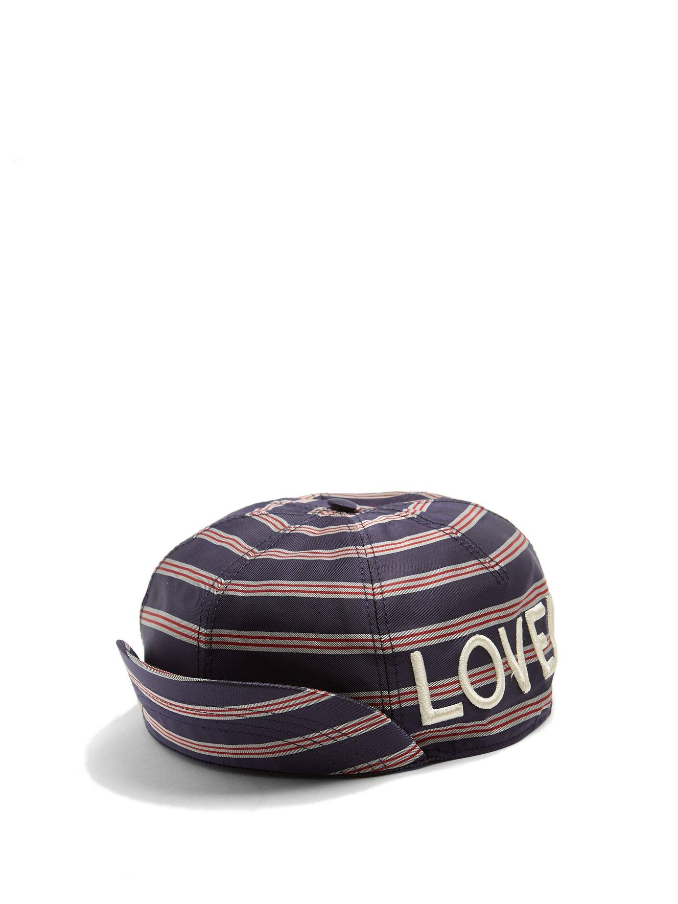 54826164b6a Lyst - Gucci Embroidered Striped Satin Cap in Blue for Men - Save 18%
