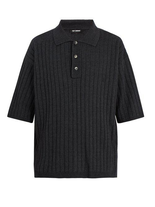 Point-collar ribbed-knit polo shirt Raf Simons Good Selling Buy Cheap Collections Discount Classic Up To Date fiOzkLSw6