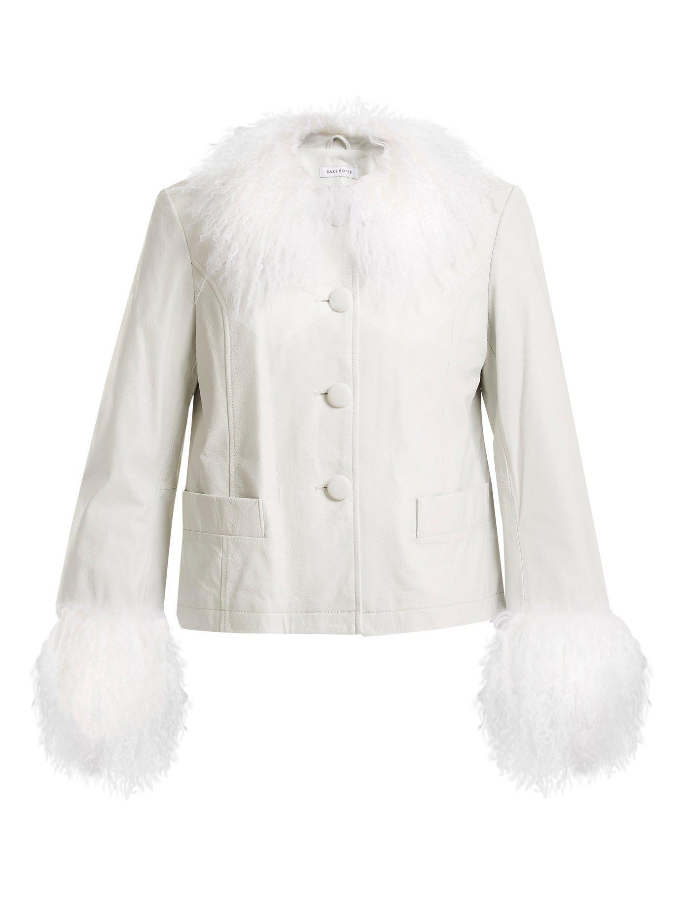 Veste en cuir à bords en fourrure DortheSaks Potts Vente Pas Cher Avec Paypal Qualité Supérieure À Vendre 7HgW82