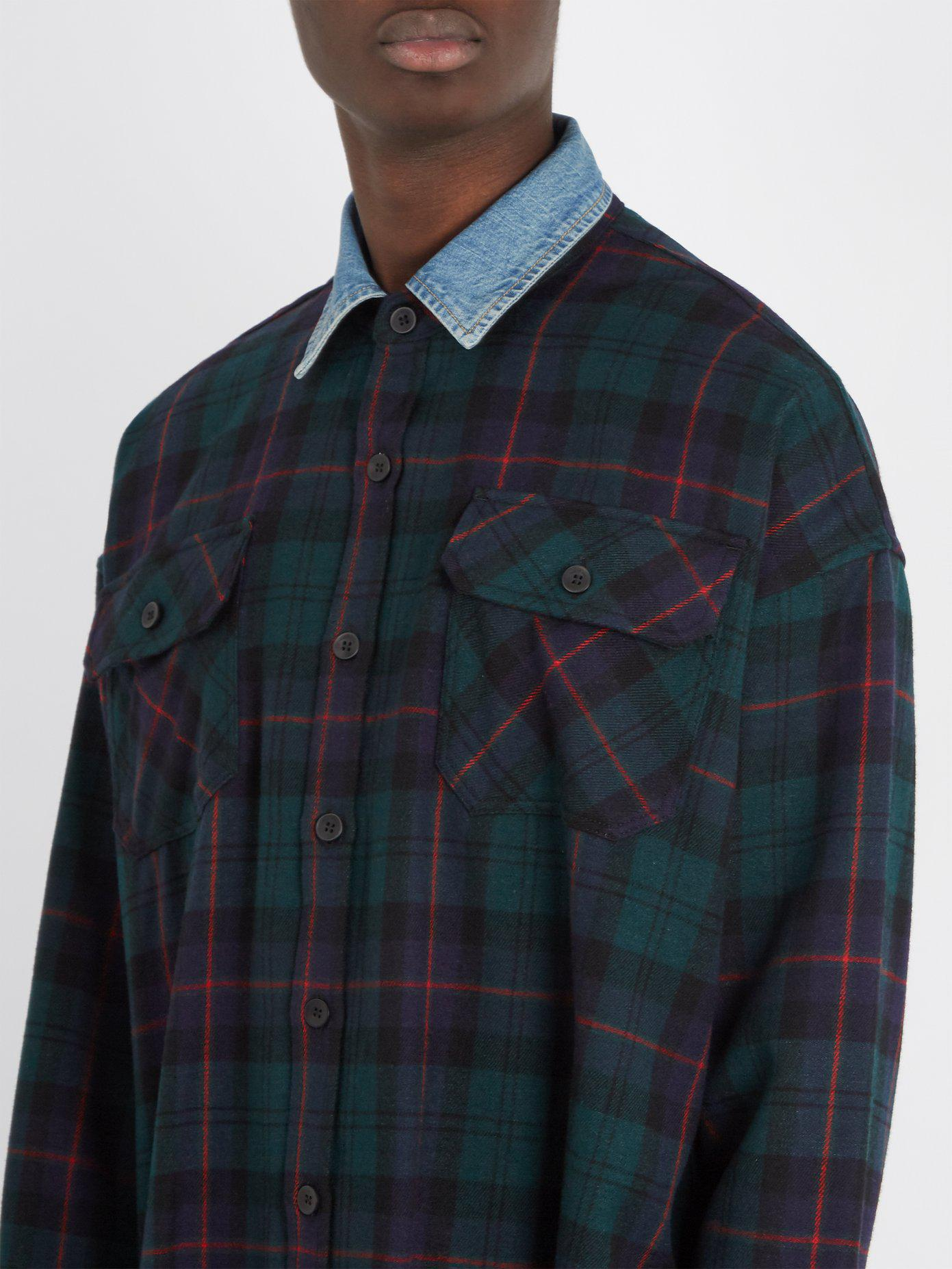 f6aceae131 Lyst - Fear Of God Denim-collar Checked Flannel Shirt in Green for Men