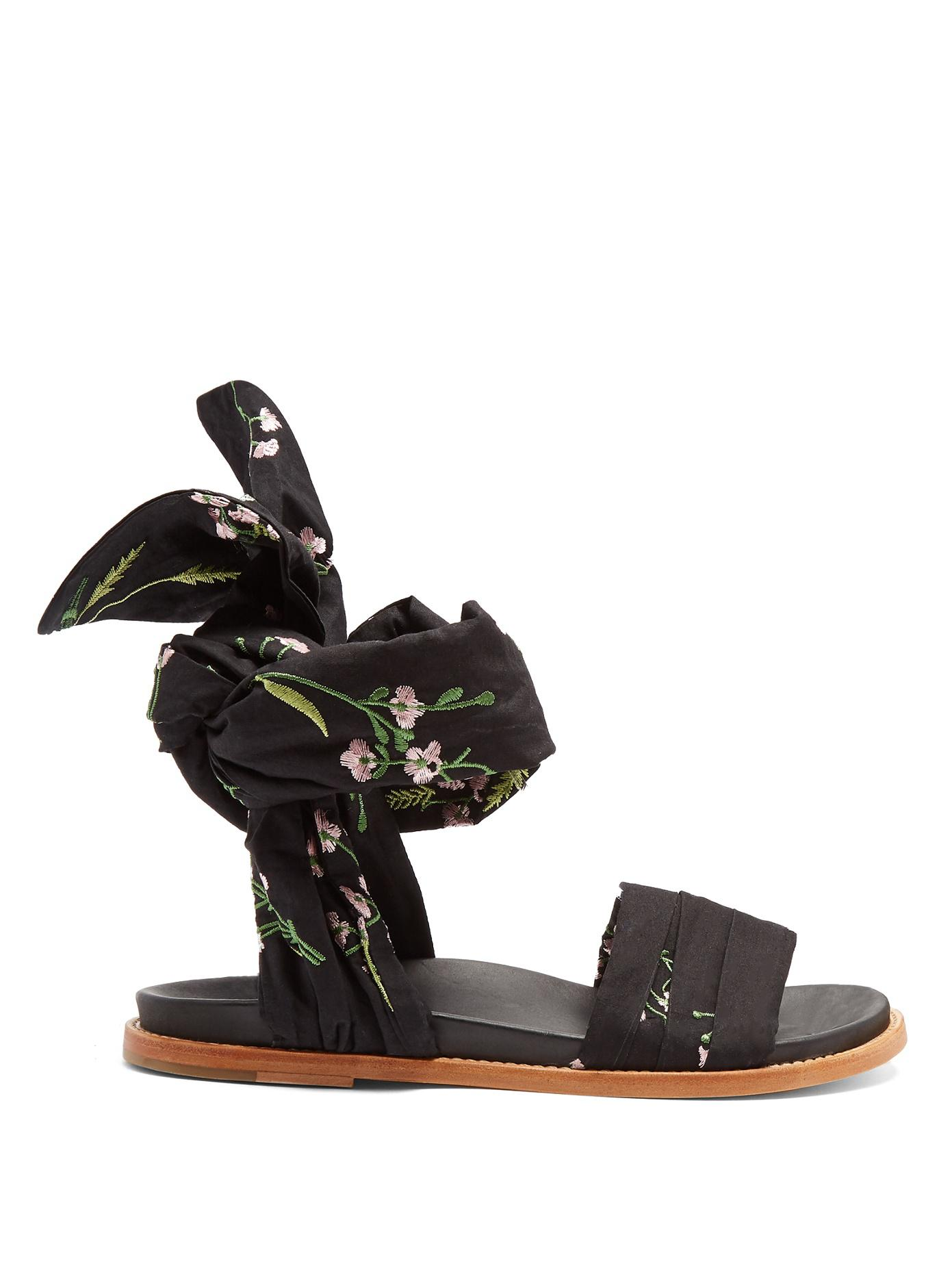 Black floral embroidered wrap sandals Marques Almeida MRKidIC