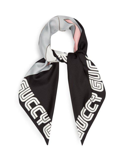 Lyst - - Foulard en soie Bugs Bunny Gucci pour homme en coloris Noir c3d6cd70105
