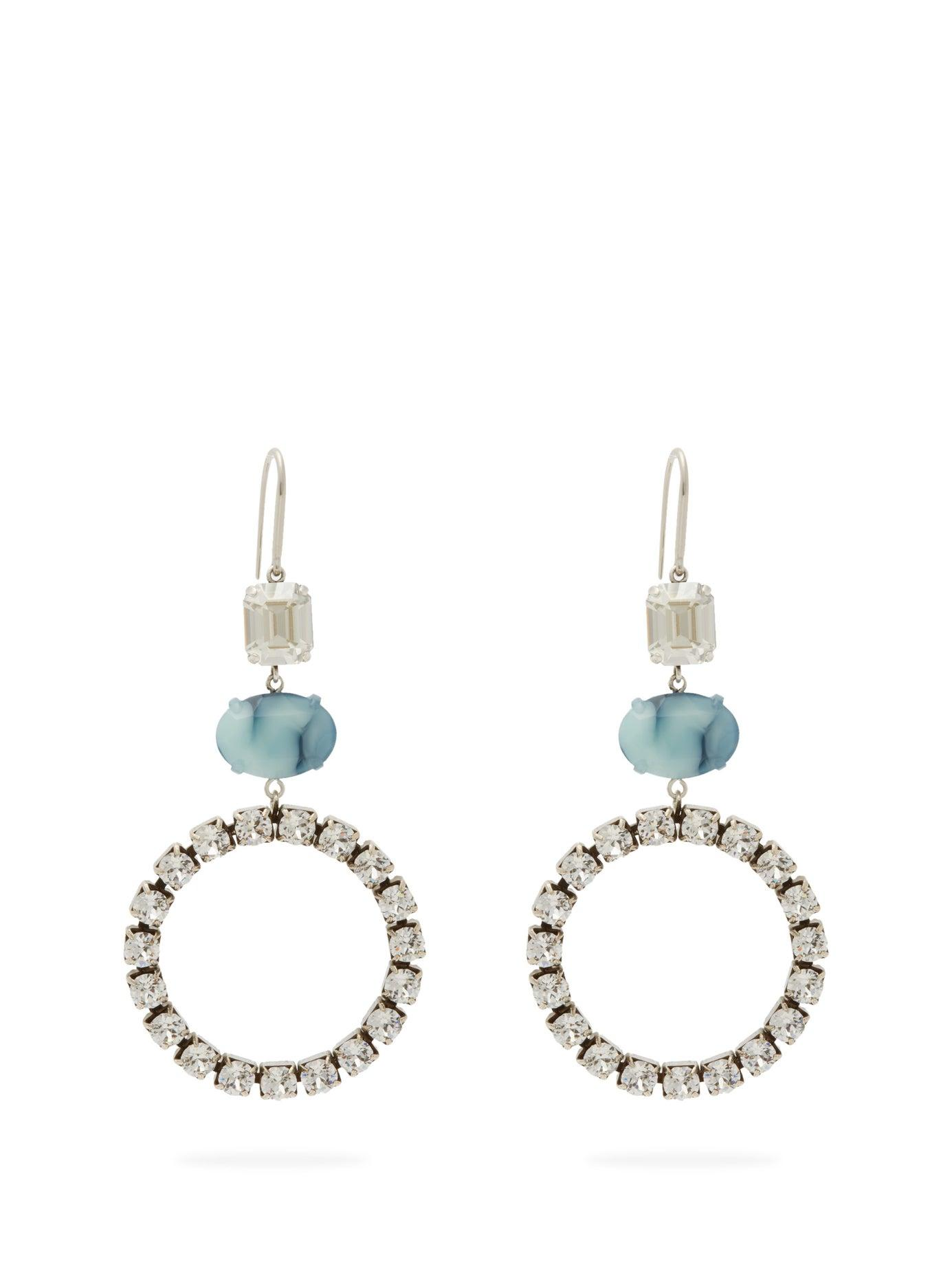 61028236c1d Isabel Marant Crystal And Stone Drop Earrings in Blue - Lyst