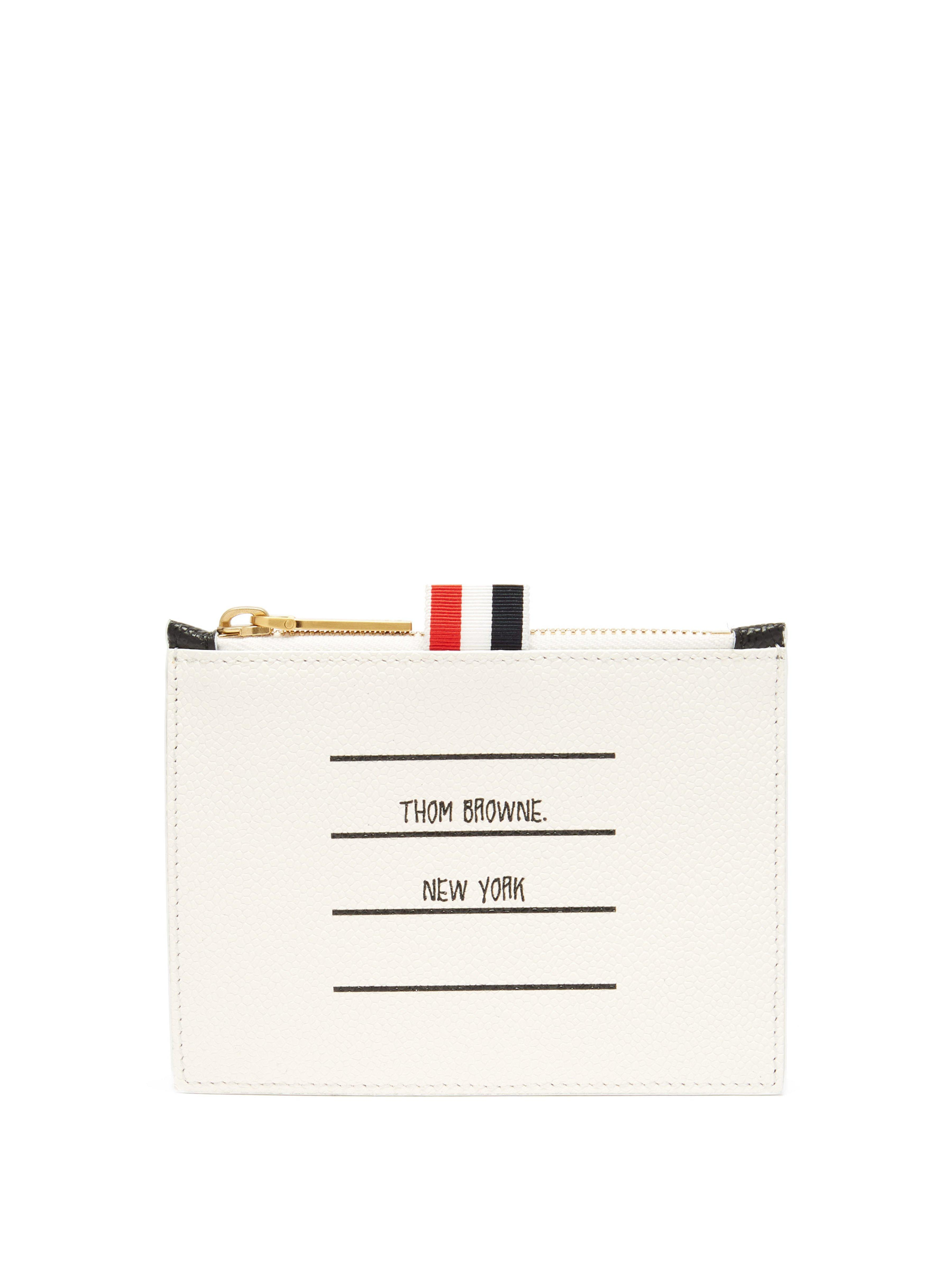 4331397f8827 Thom Browne Address Label Pebbled Leather Coin Purse in Black for ...