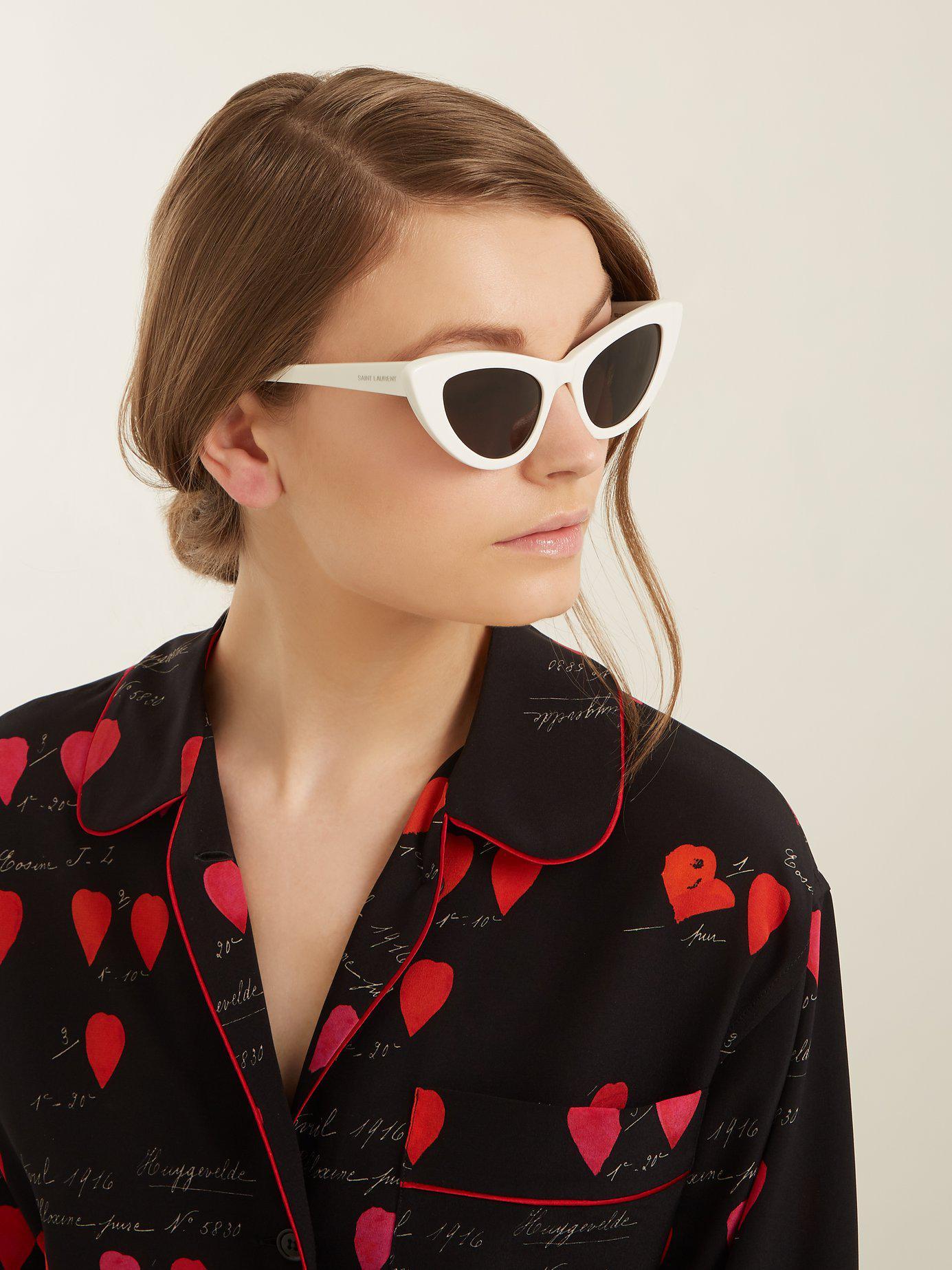 8f720e36fe0be Saint Laurent Lily Cat-eye Frame Acetate Sunglasses - Lyst
