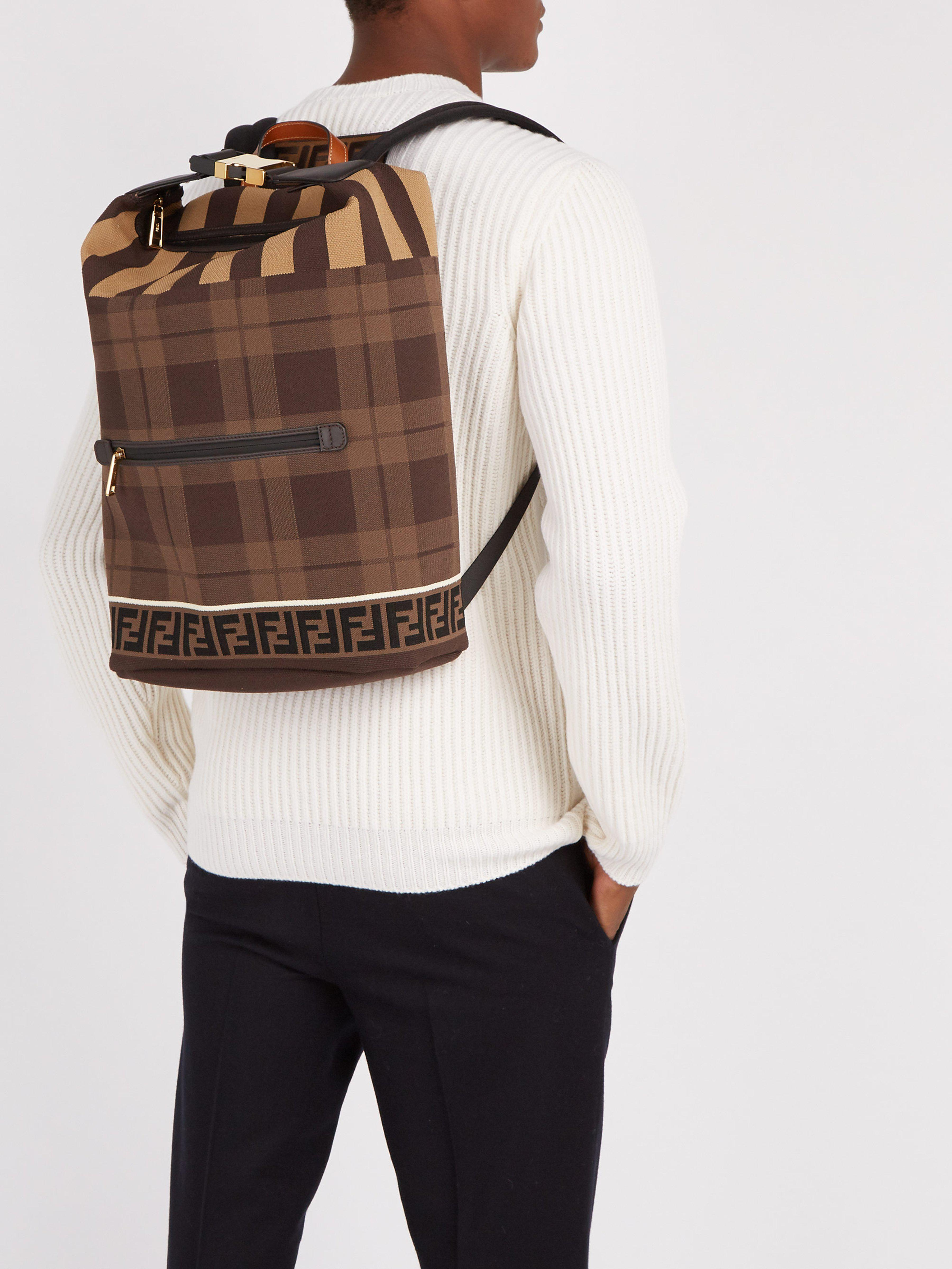 16c187c767eb Fendi Ff Technical Knit Backpack in Brown for Men - Lyst