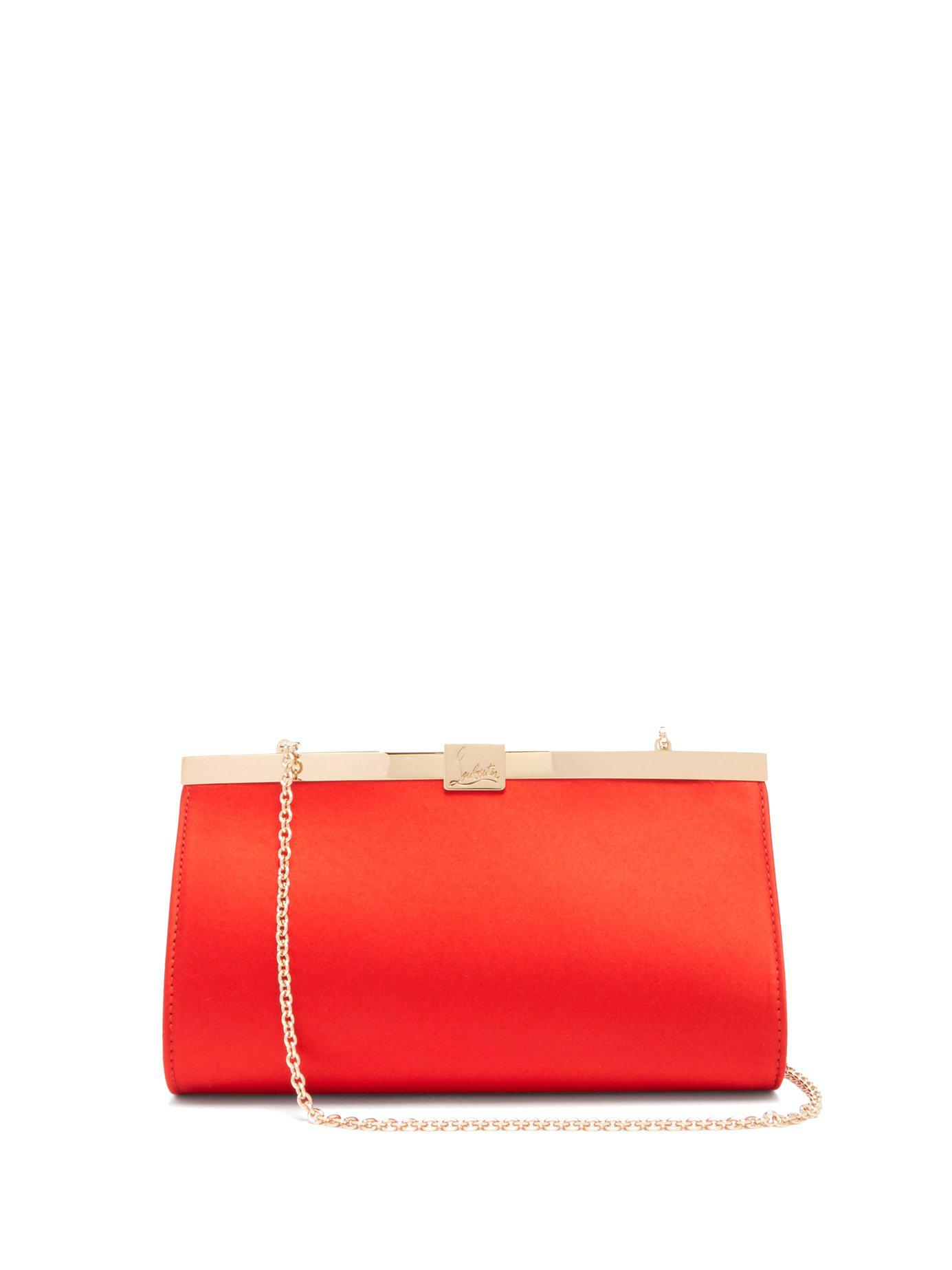541cd45fa0a Christian Louboutin Palmette Satin Clutch in Red - Lyst