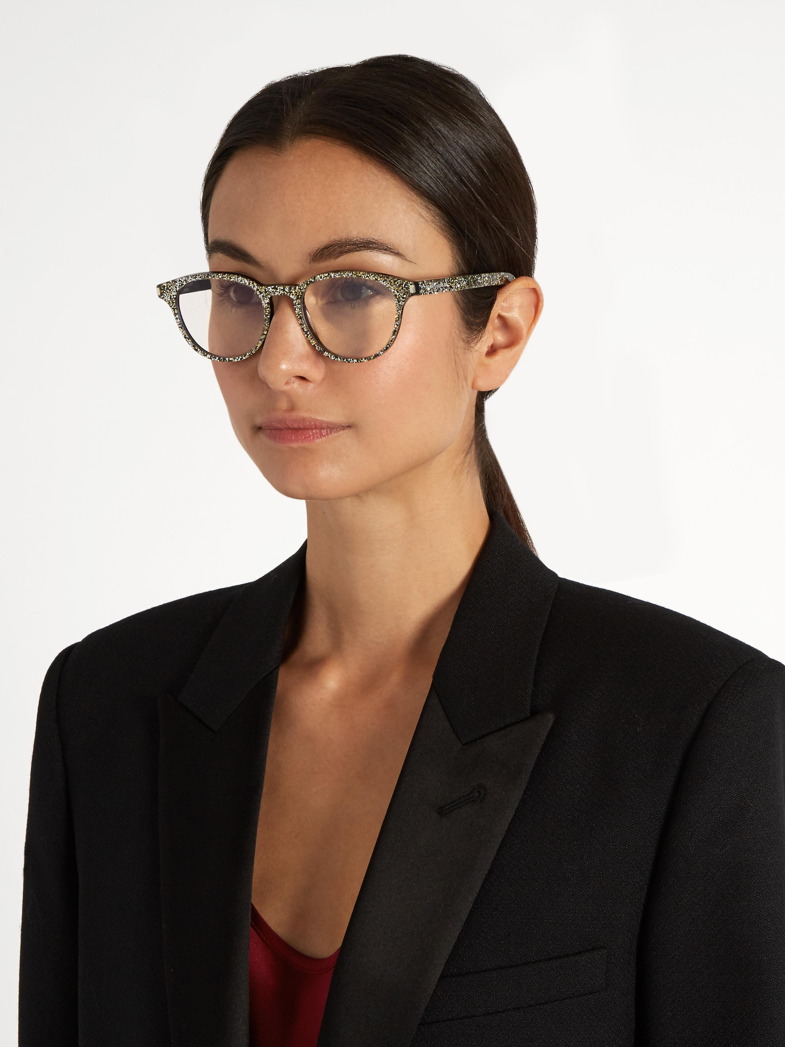 167f6c4b3e Lyst - Saint Laurent Round-frame Glitter Glasses in Metallic