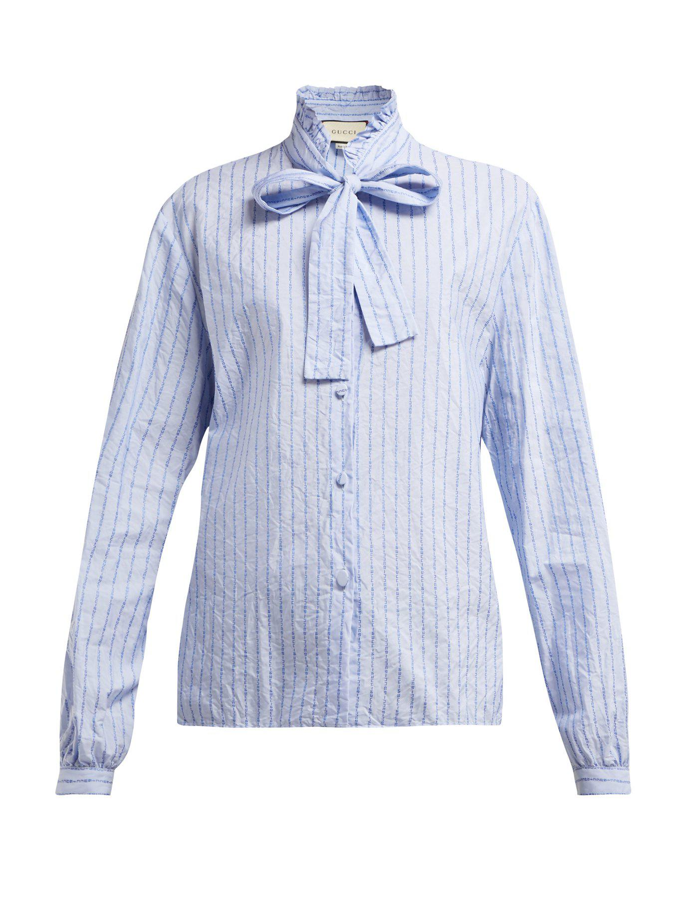17ce5b3ce730f7 Gucci Pussy Bow Striped Logo Jacquard Cotton Shirt in Blue - Lyst