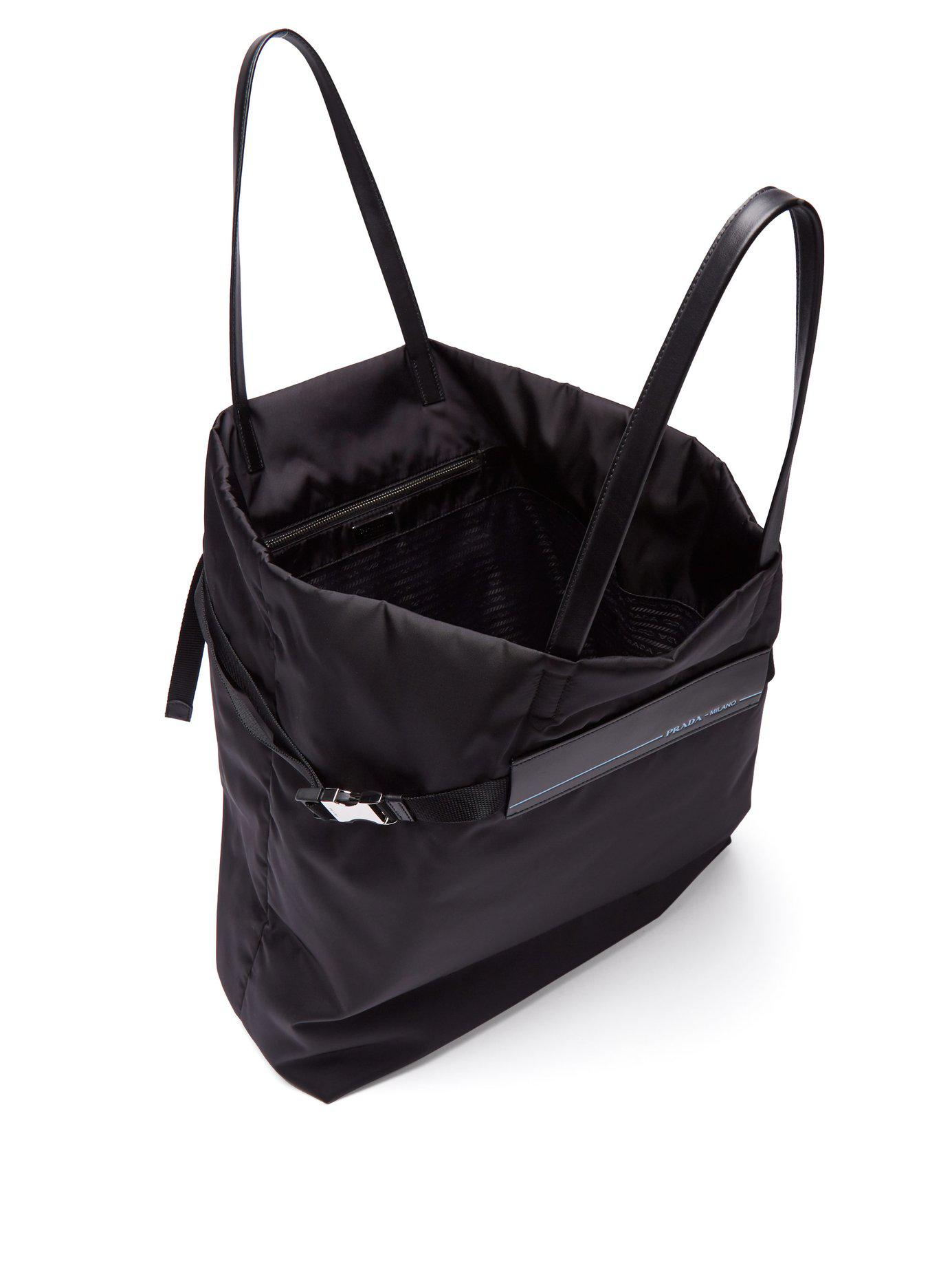 65a68c6e278a Prada - Black Logo Patch Nylon Tote Bag - Lyst. View fullscreen